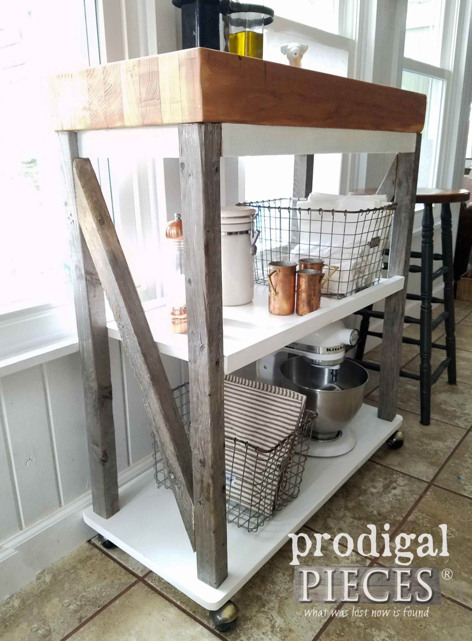 Upcycled Reclaimed Wood Storage Cart by Larissa of Prodigal Pieces | prodigalpieces.com