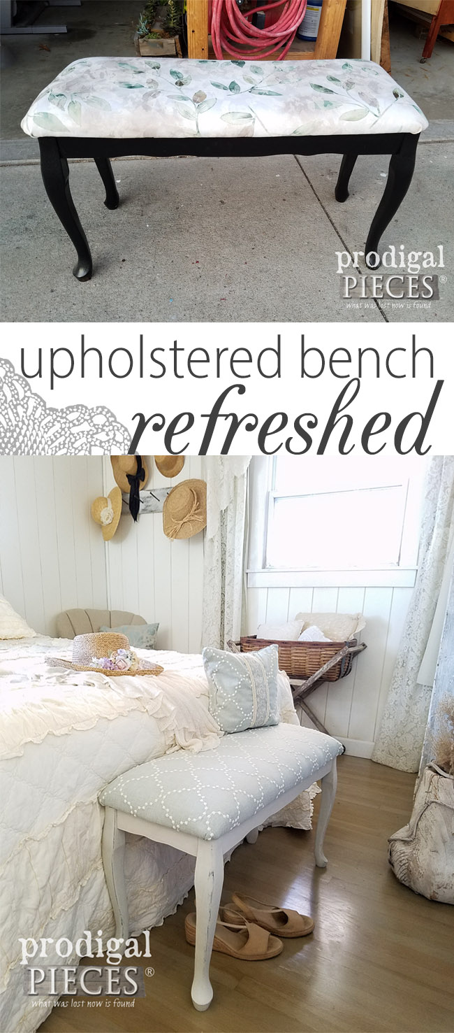 What a difference! This vintage upholstered bench needed some TLC and is now refreshed with simple steps. See the details at Prodigal Pieces | prodigalpieces.com