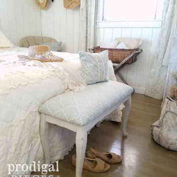 Cozy Farmhouse Cottage Style Bedroom with Upholstered Bench Set by Larissa of Prodigal Pieces | prodigalpieces.com