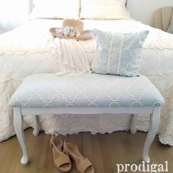 Vintage Queen Anne Upholstered Bench gets updated look by Larissa of Prodigal Pieces | prodigalpieces.com
