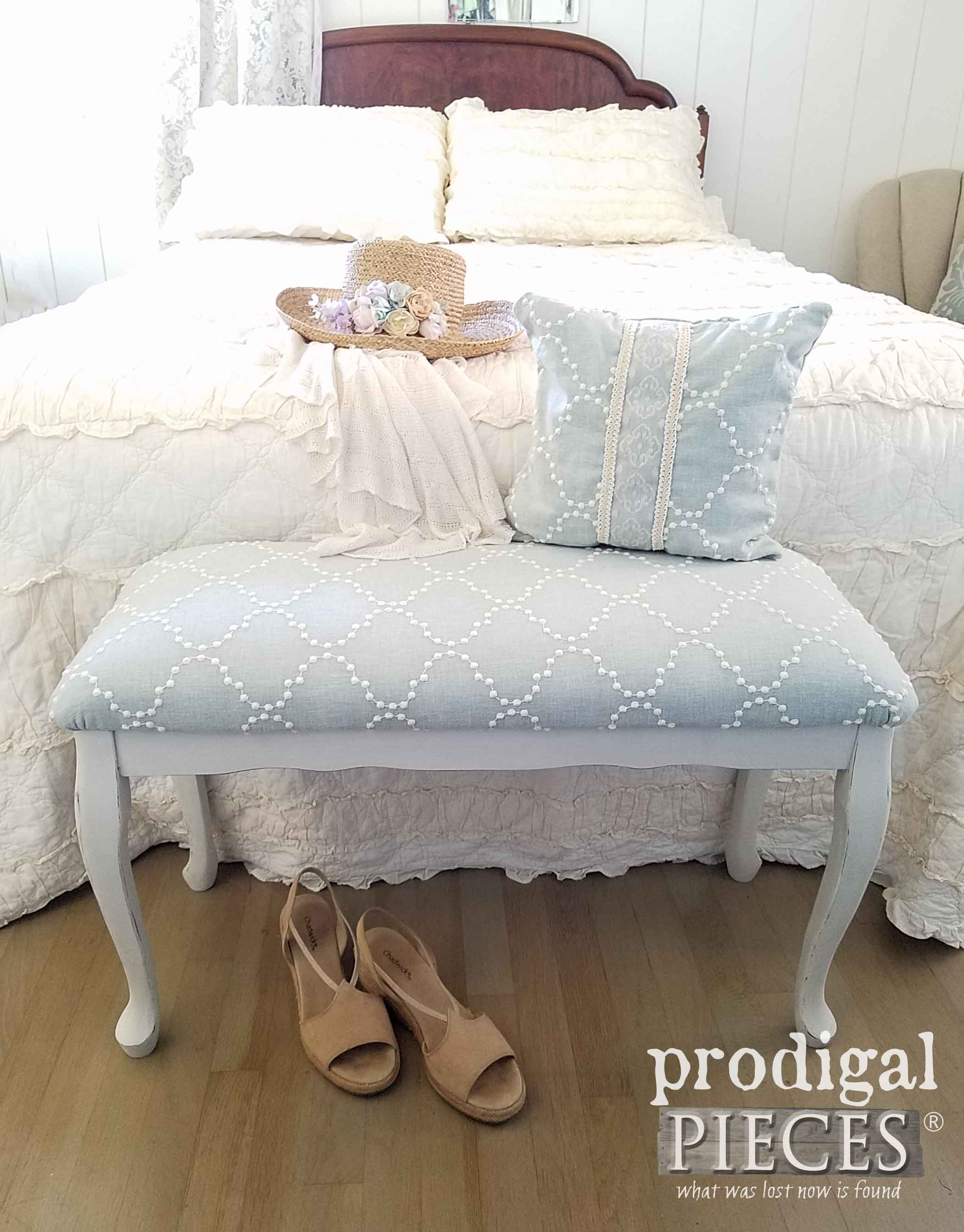 Vintage Upholstered Bench gets updated look by Larissa of Prodigal Pieces | prodigalpieces.com