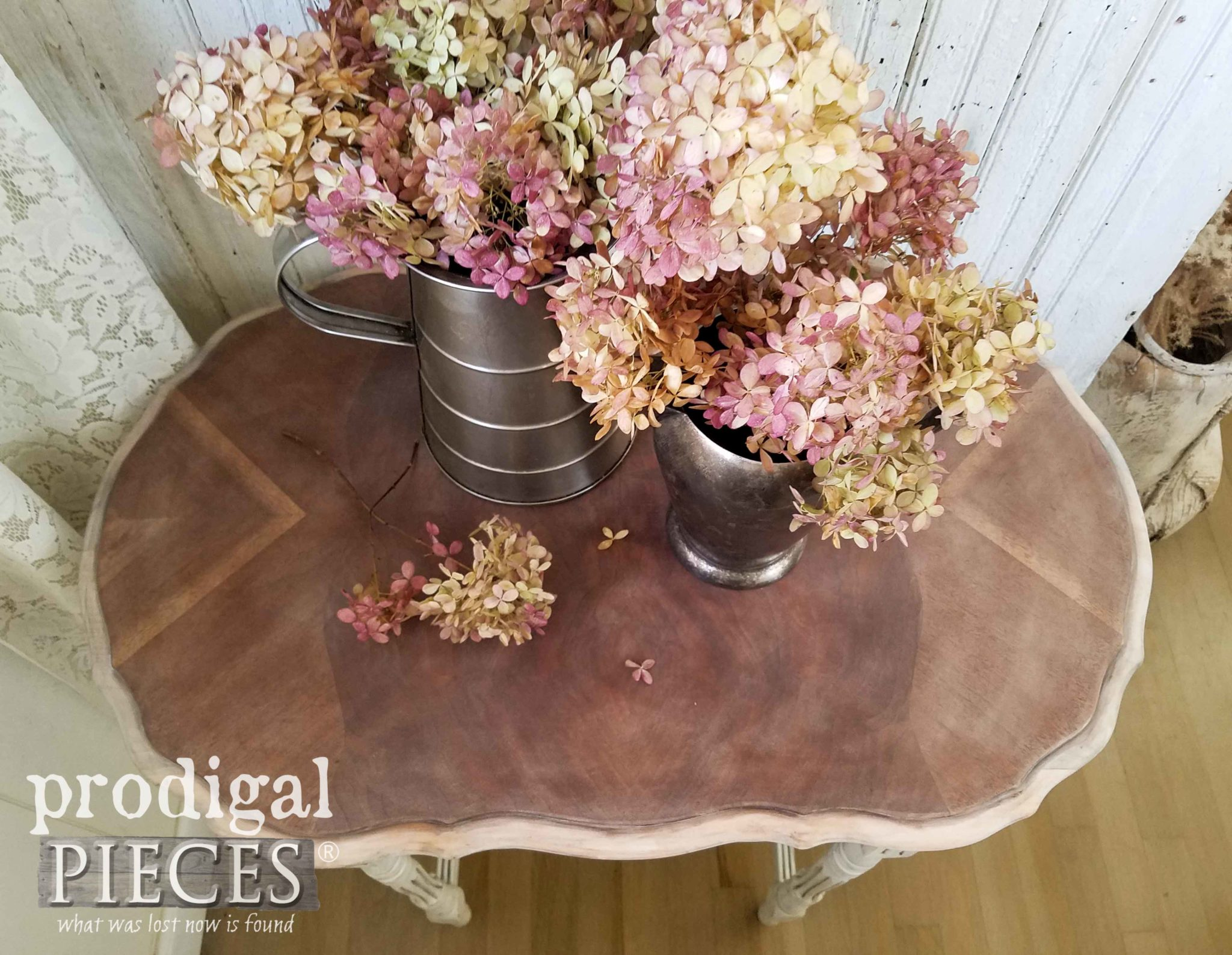 Pitchers of Hydrangeas on Antique Table with Beautiful Inlay | prodigalpieces.com