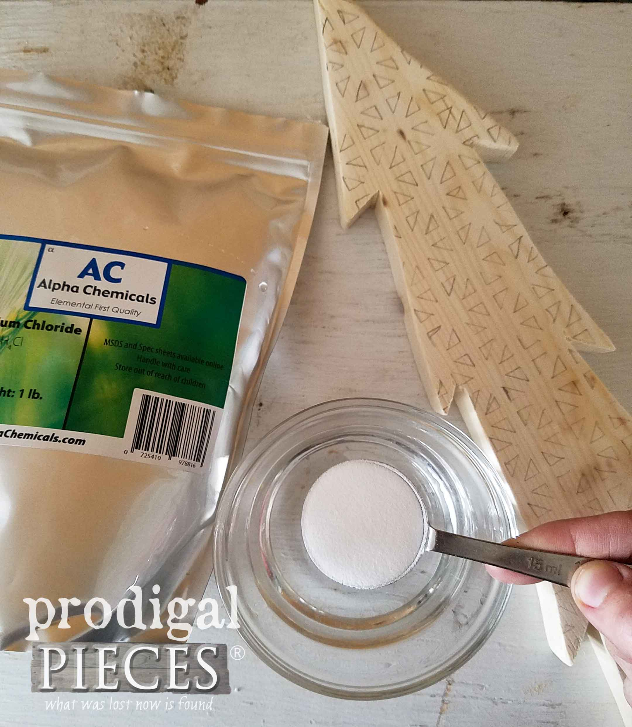 Mixing ammonium chloride for heat gun wood burning by Larissa of Prodigal Pieces | prodigalpieces.com