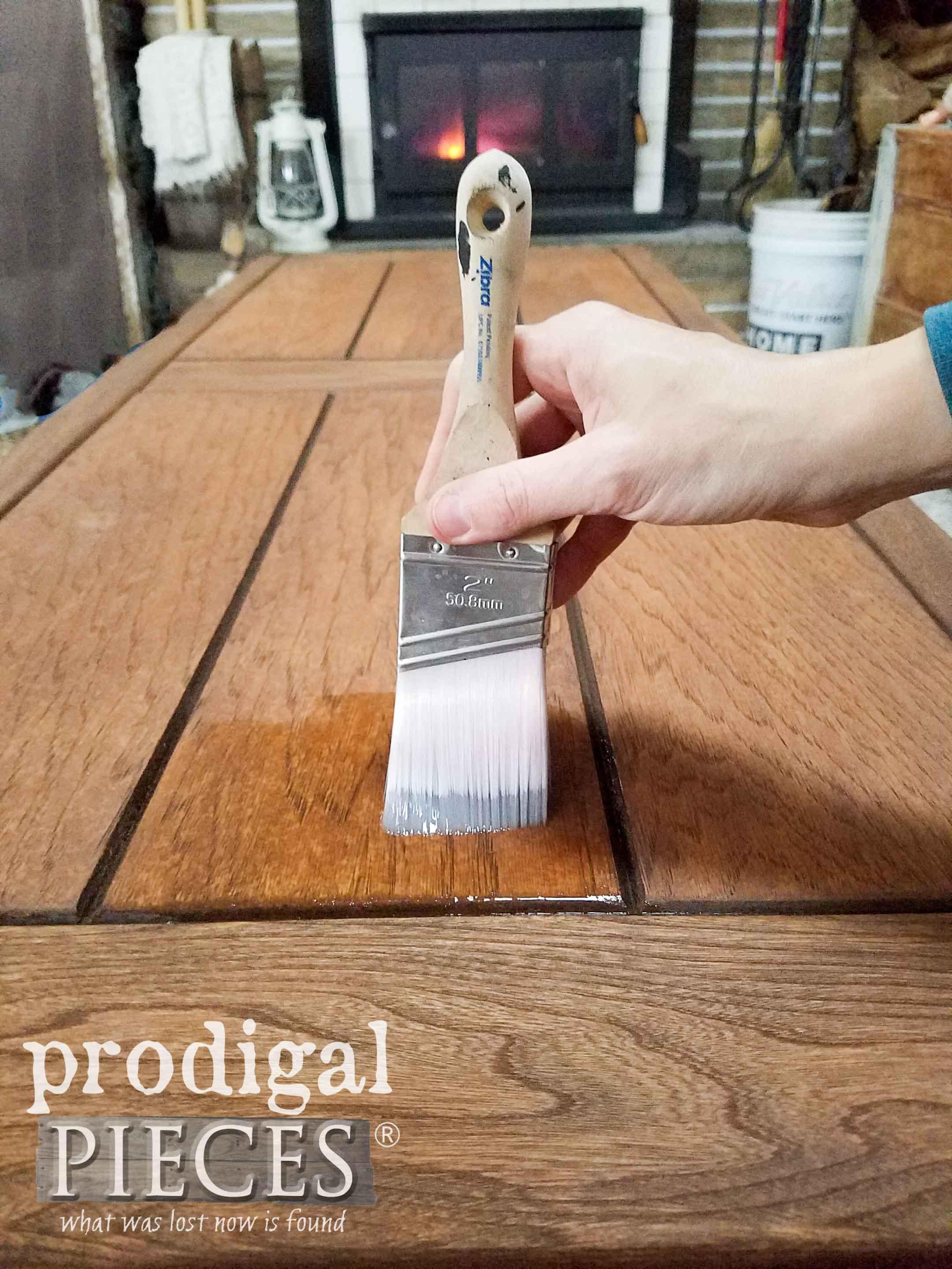 Applying Gator Hide Topcoat with Zibra Brush by Prodigal Pieces | prodigalpieces.com