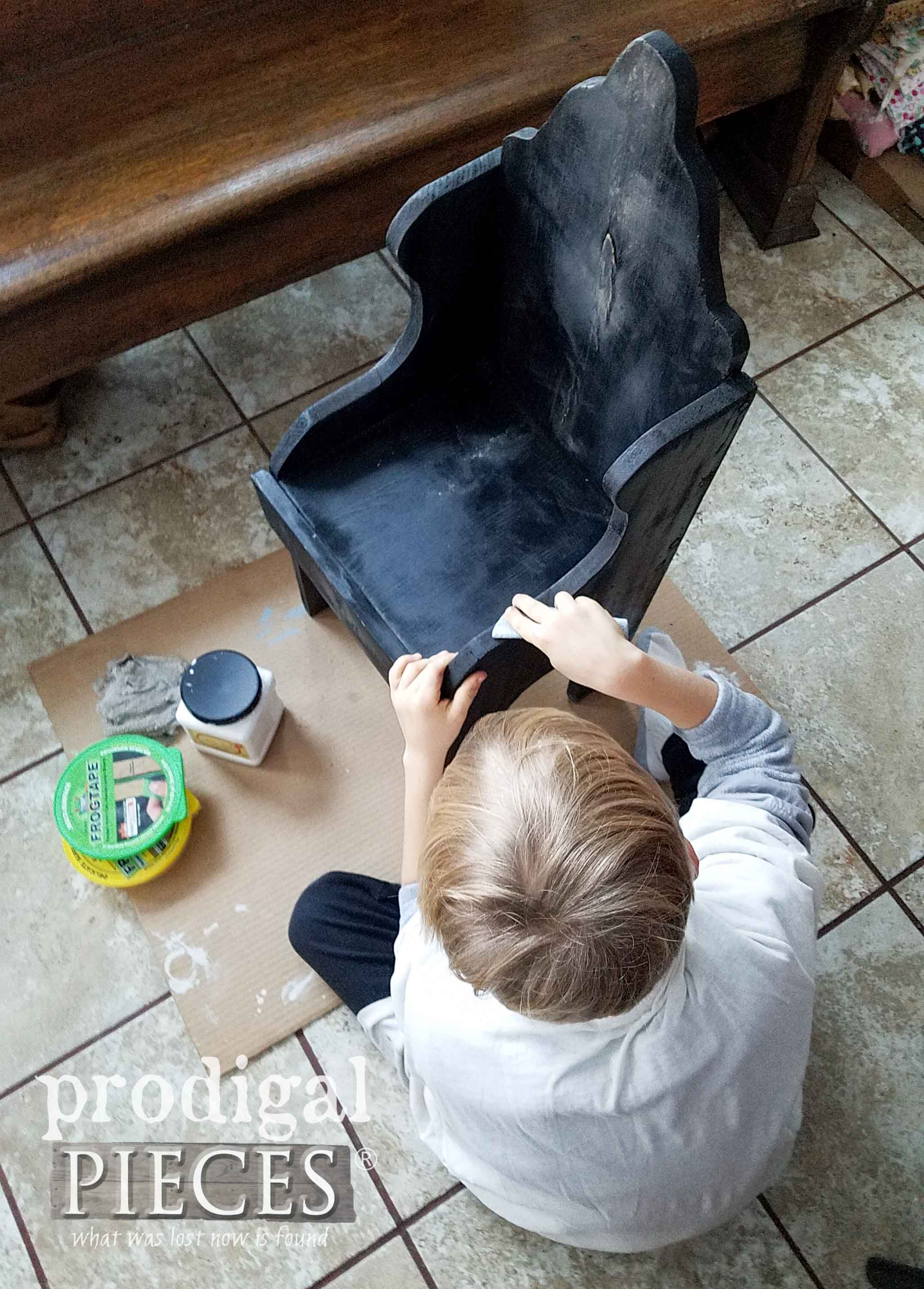 Boy Sanding Chair to Show Kids Learning DIY Skills | prodigalpieces.com