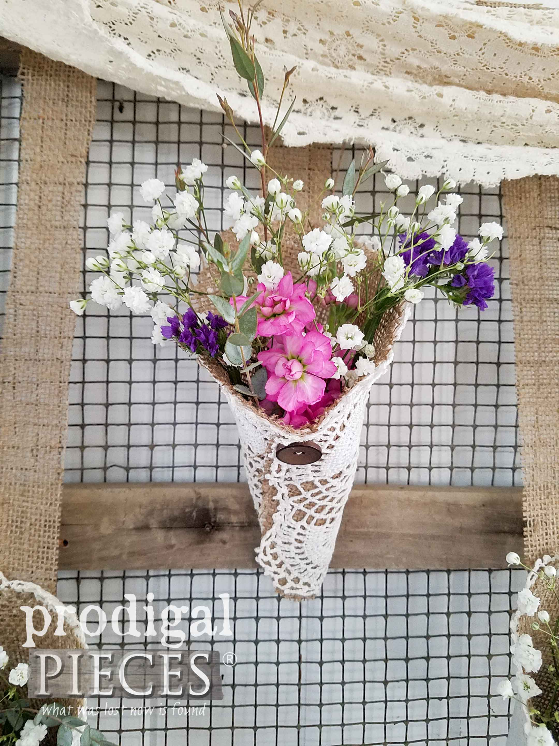 Burlap and Doily Cone of Flowers for Rustic Farmhouse Wall Art by Larissa of Prodigal Pieces | prodigalpieces.com