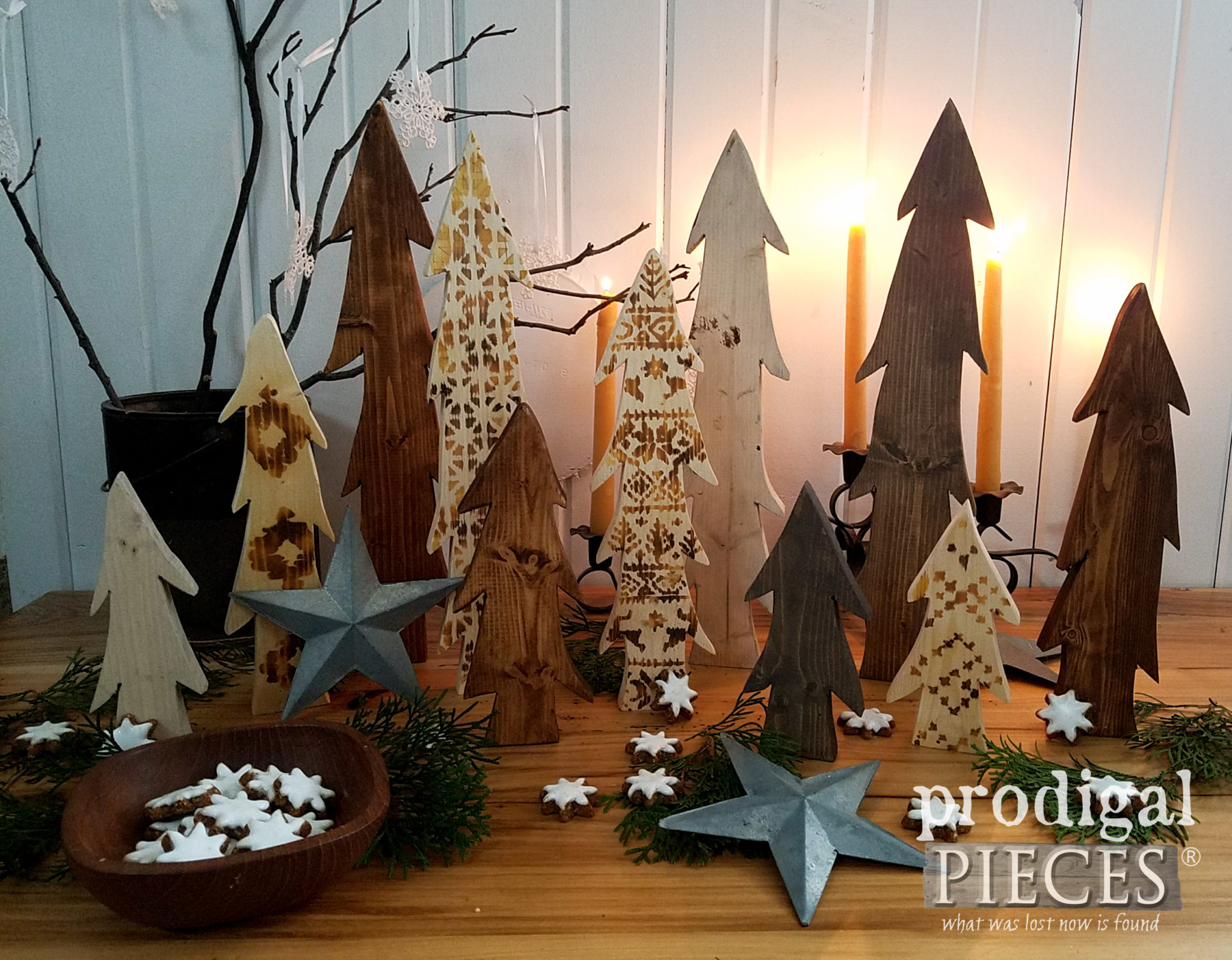 Candle Lit DIY Wooden Trees with Heat Gun Wood Burning Tutorial | Prodigal Pieces | prodigalpieces.com