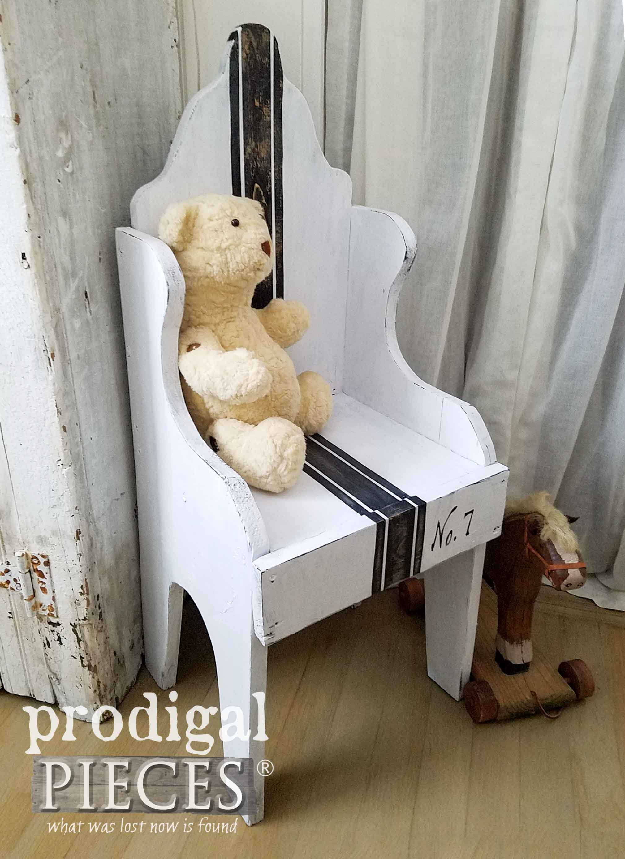 Child-Size Farmhouse Grain Sack Chair by Prodigal Pieces | prodigalpieces.com