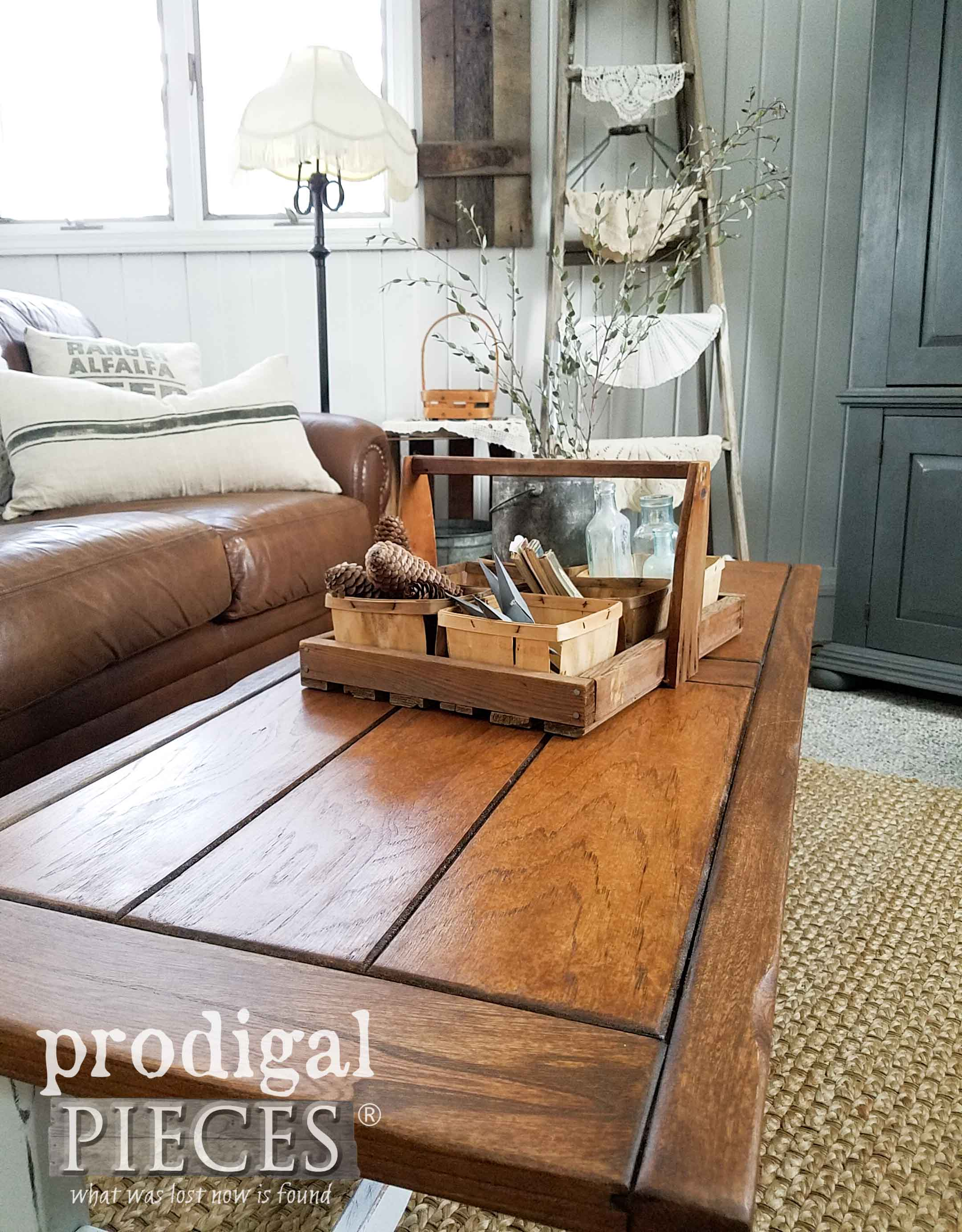 Create the farmhouse look for less with a thrift store table turned farmhouse style. See the details at Prodigal Pieces | prodigalpieces.com