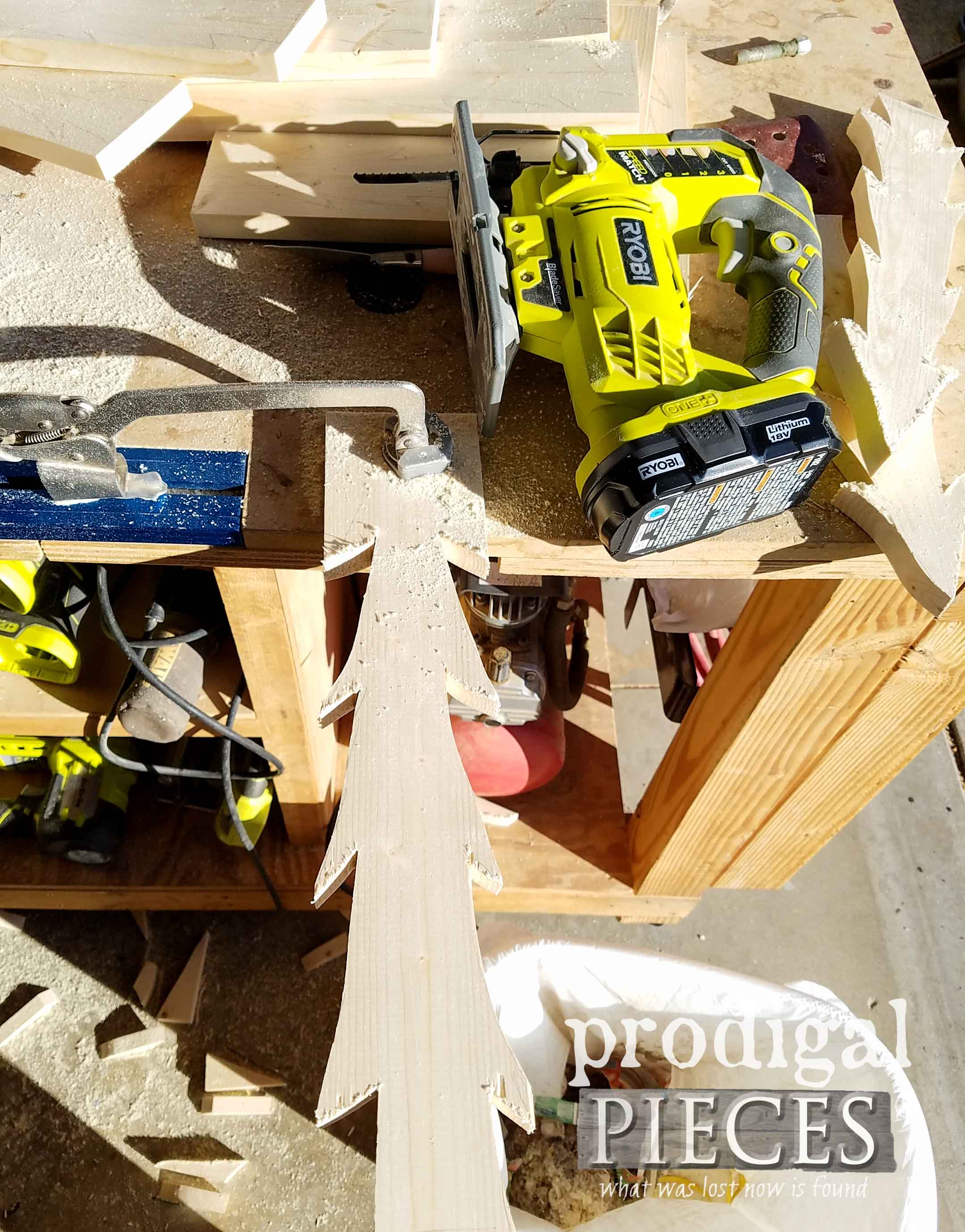 Using Kreg Clamp Trak and Ryobi Jig Saw to cut wooden trees by Prodigal Pieces | prodigalpieces.com