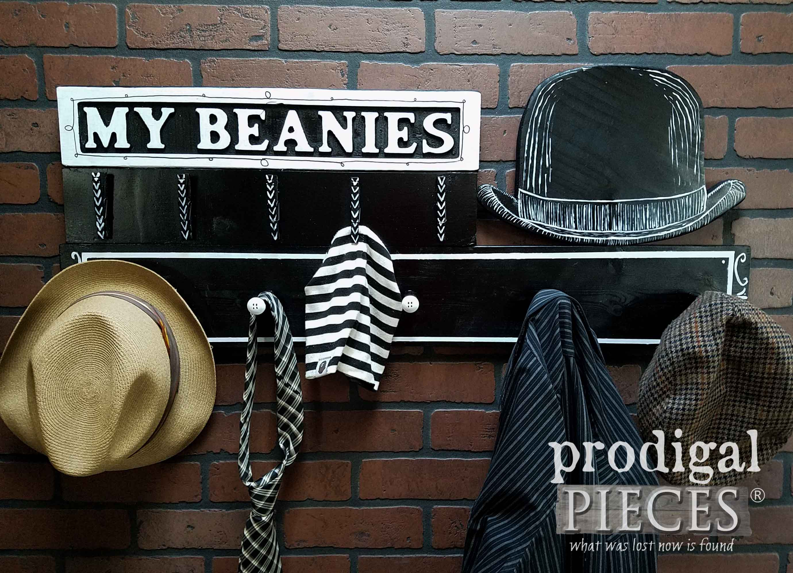 Dapper Beanie Hat Hanger and Coat Rack Repurposed and Built by Larissa of Prodigal Pieces | prodigalpieces.com