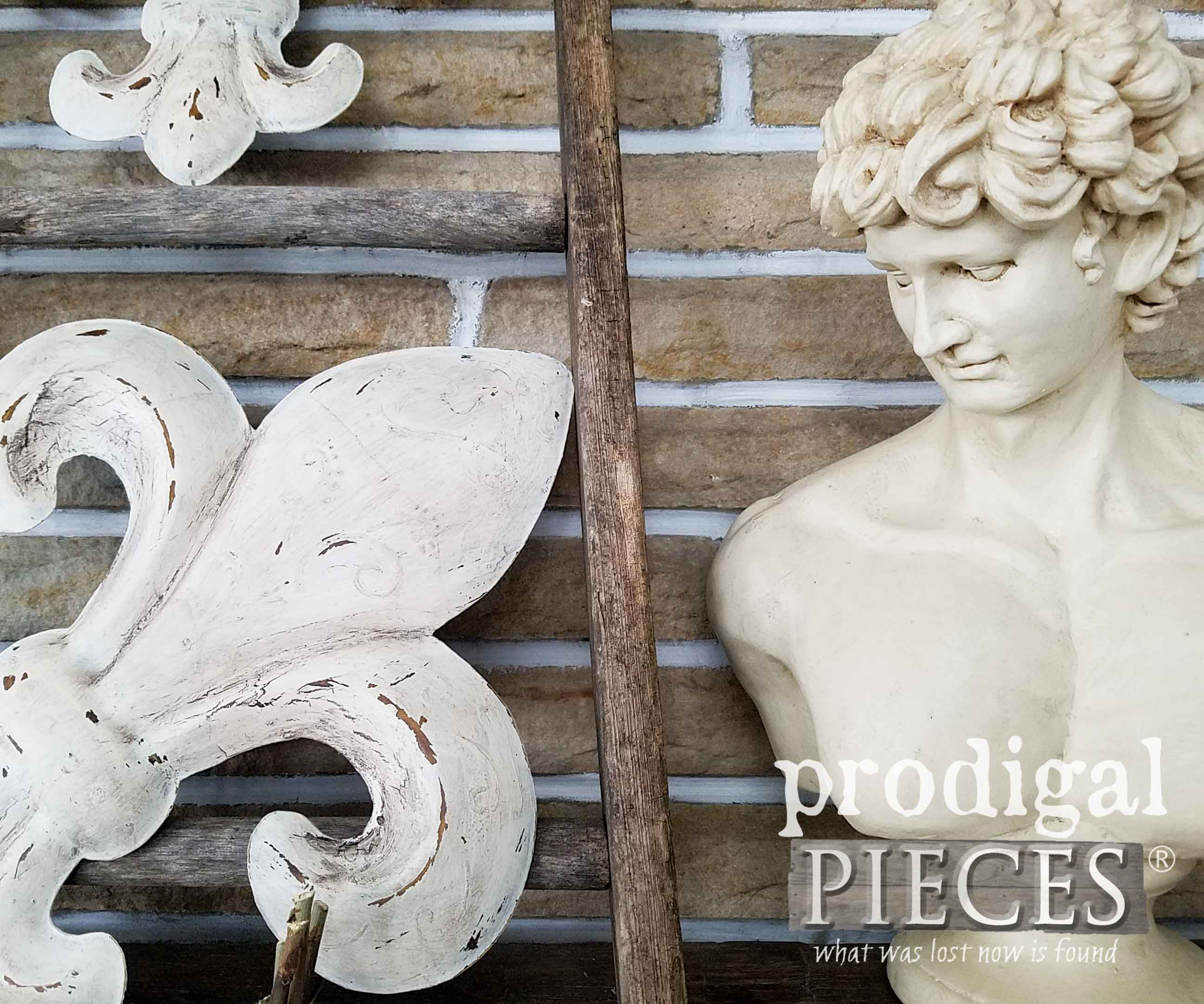 Thrifted David Bust on Farmhouse Chic Mantel by Prodigal Pieces | prodigalpieces.com