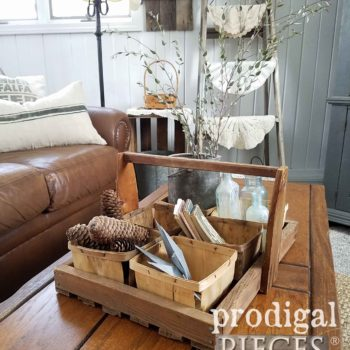 Antique Wooden Berry Picking Tote with Baskets for Farmhouse Decor. Available at Prodigal Pieces | prodigalpieces.com