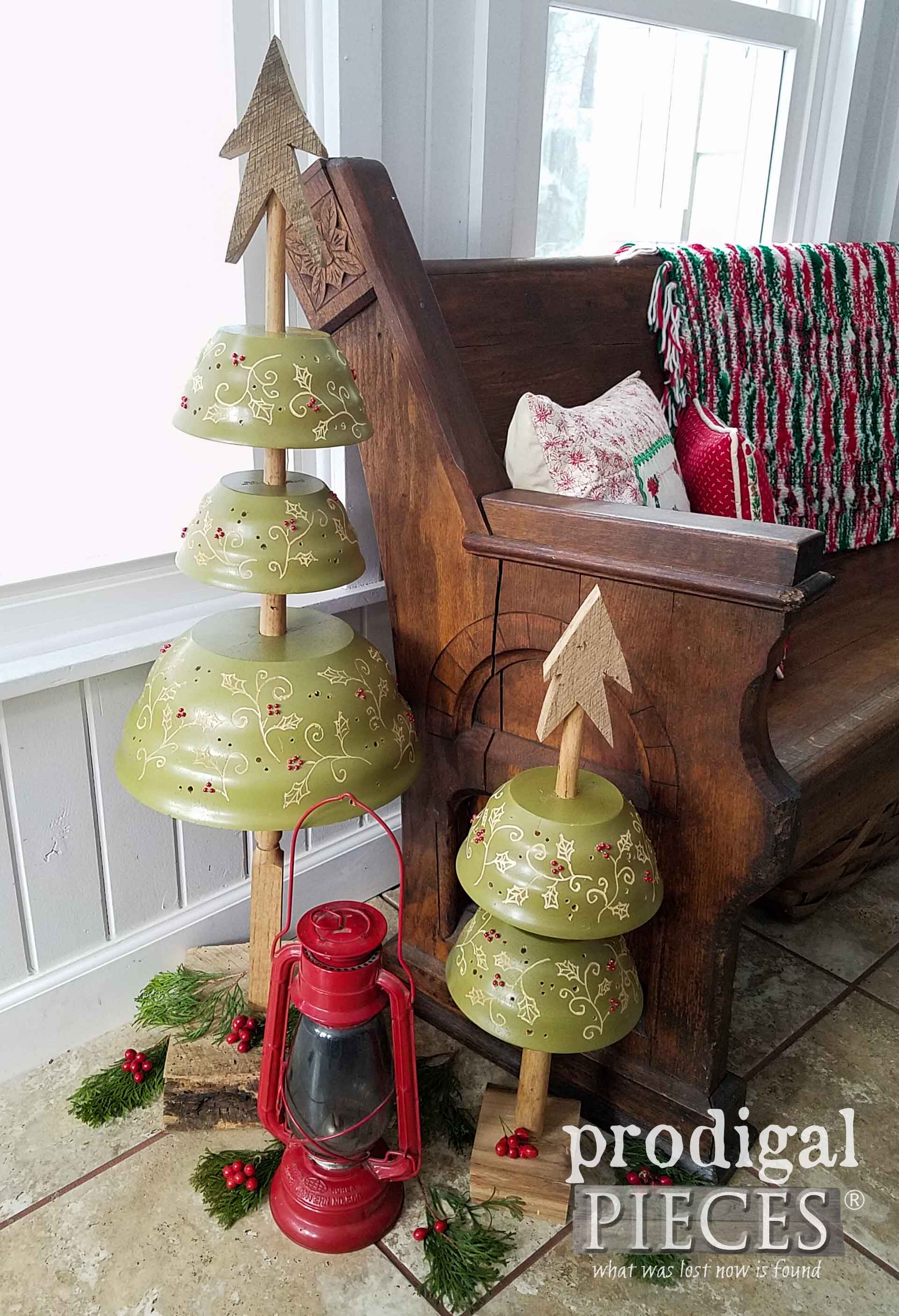 DIY Repurposed Christmas Trees from Upcyled Salad Bowls by Larissa of Prodigal Pieces | prodigalpieces.com