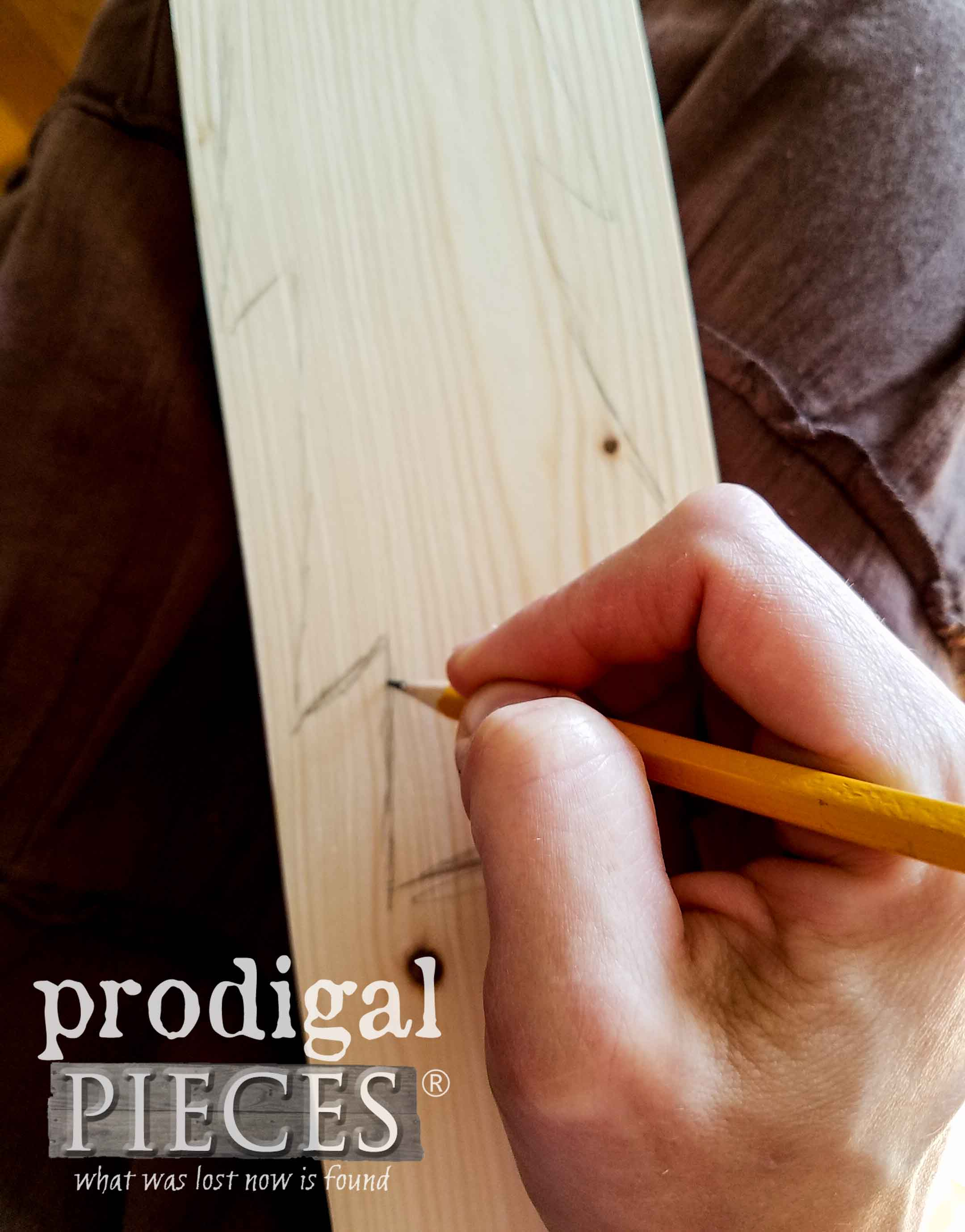 Drawing Trees onto Raw Pine Board | prodigalpieces.com