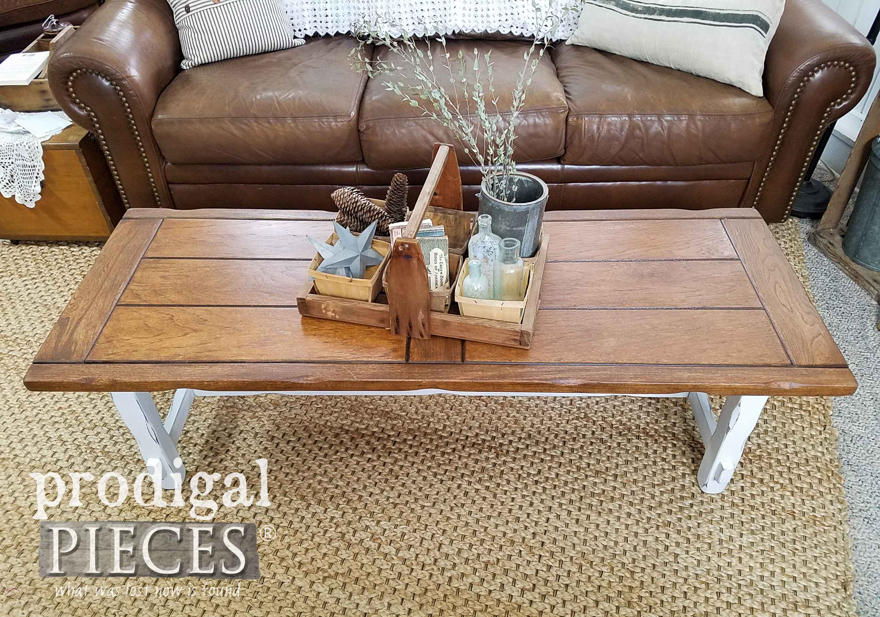 Farmhouse Coffee Table Top Refinished by Larissa of Prodigal Pieces | prodigalpieces.com