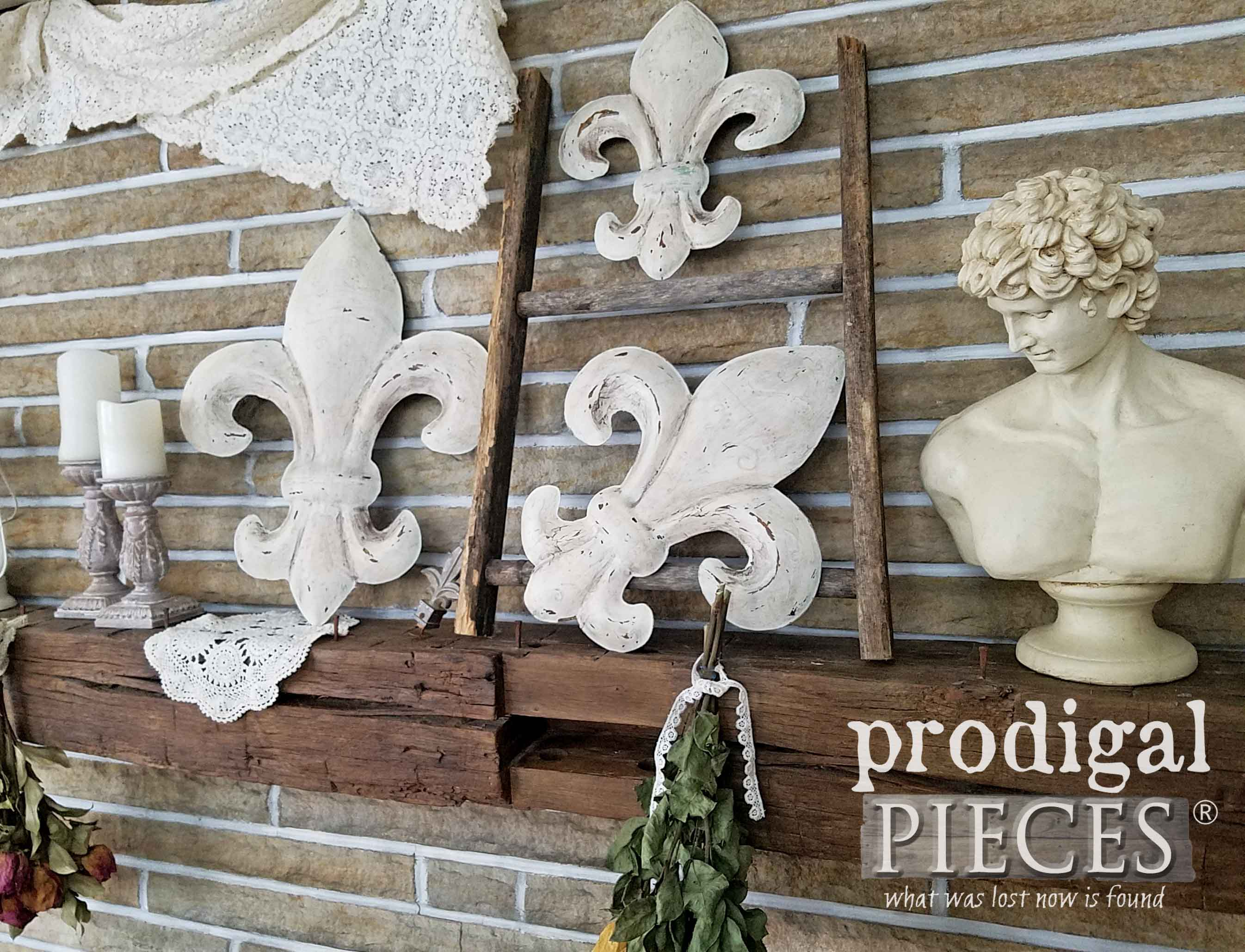 Collected Thrifted Items Make for a Rustic Farmhouse Chic Mantel Display. See more at Prodigal Pieces | prodigalpieces.com