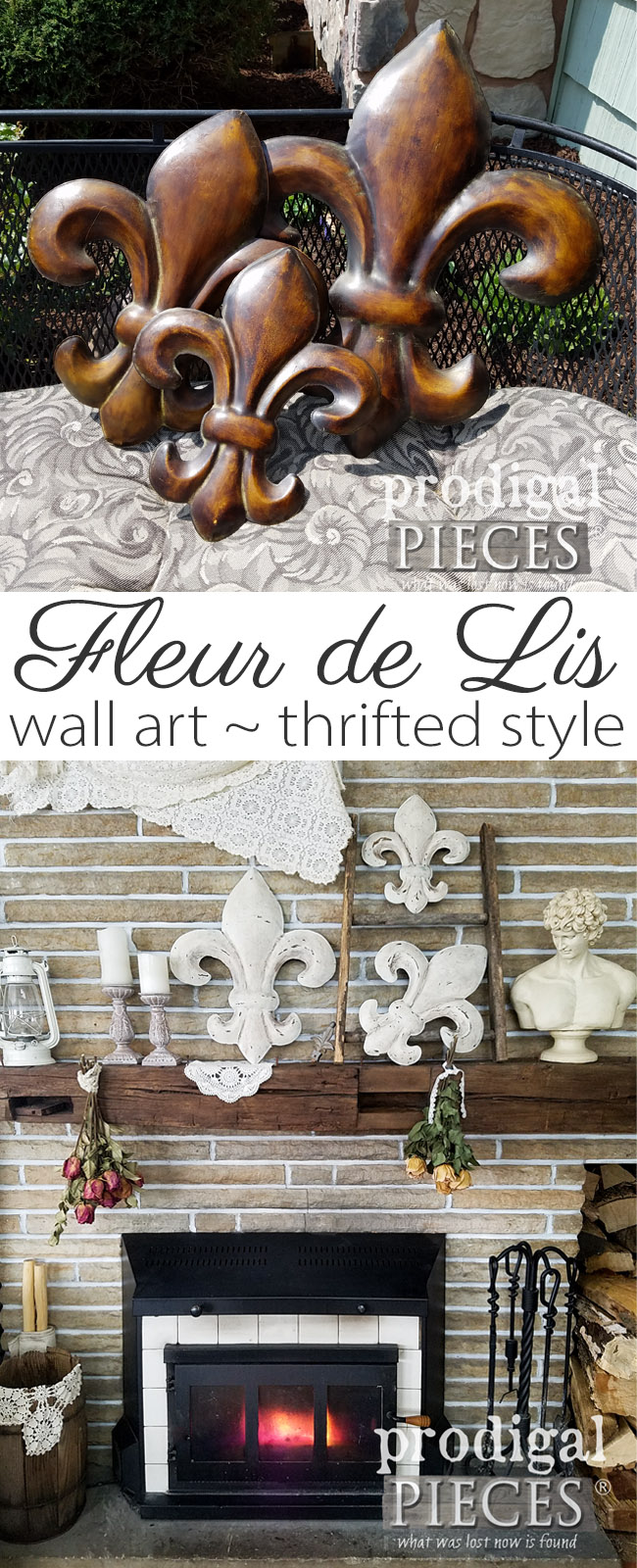 Who knew a thrifted set of Fleur de Lis wall art could look so good?! Get all the DIY details at Prodigal Pieces | prodigalpieces.com