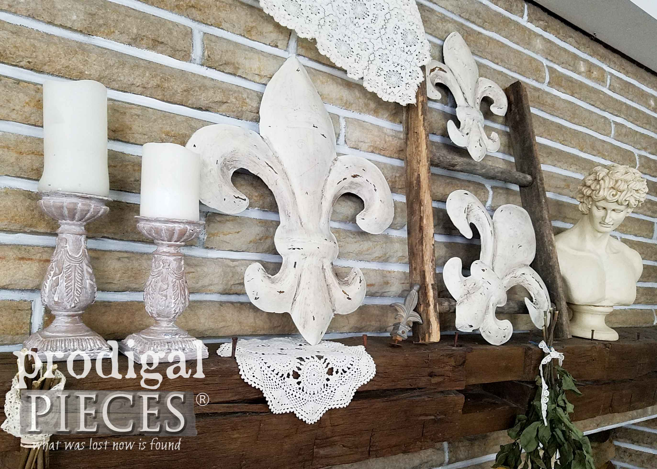 French Fleur de Lis Display on Rustic Farmhouse Mantel by Larissa of Prodigal Pieces | prodigalpieces.com