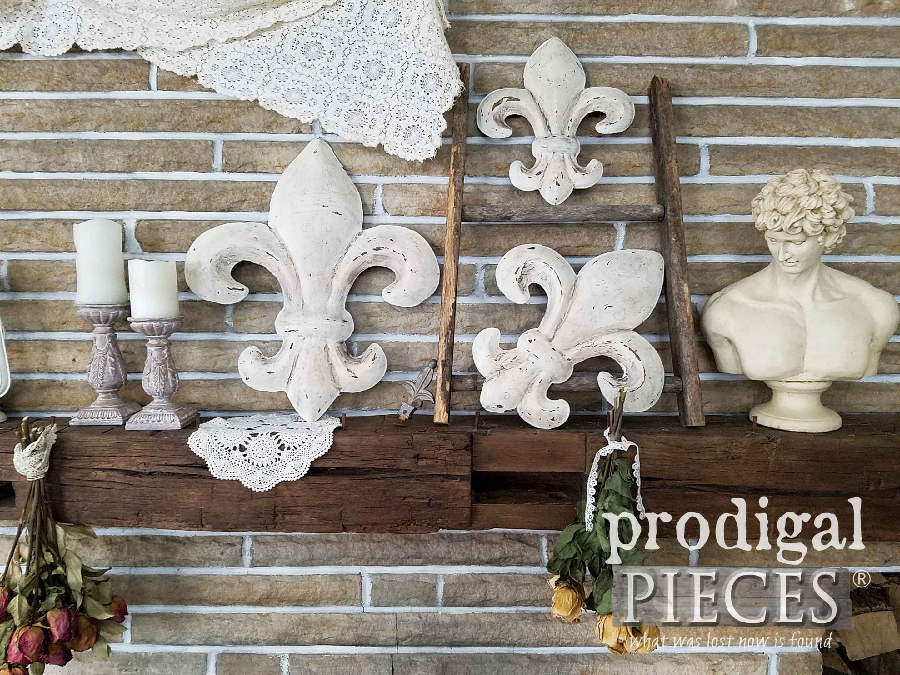 French Farmhouse Mantel with Rustic Finds and Fleur de Lis by Larissa of Prodigal Pieces | prodigalpieces.com