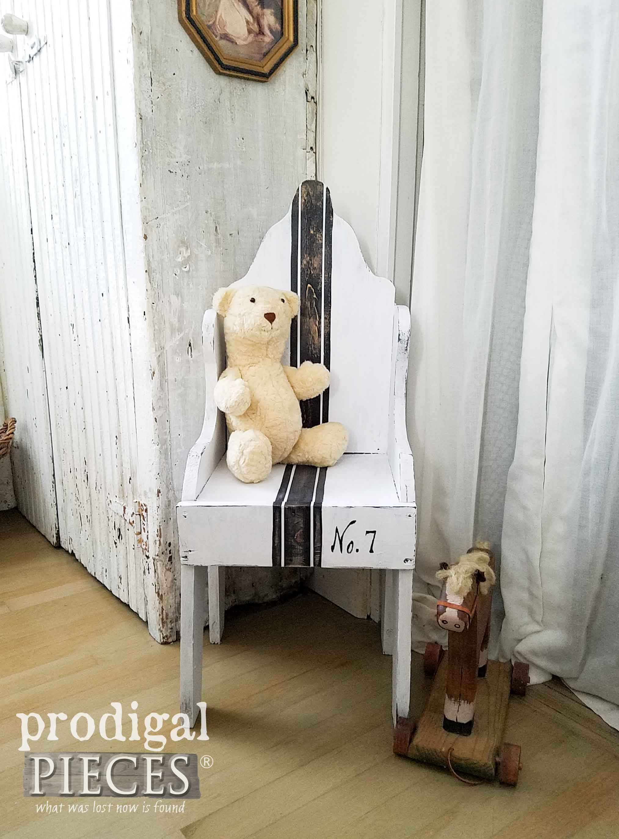 Grain Sack Farmhouse Style Chair for Home Decor or Kids by Prodigal Pieces | prodigalpieces.com