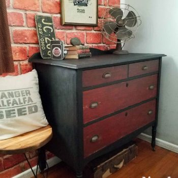 Industrial Bedroom with Faux Brick Wallpaper and Black Chest of Drawers by Larissa of Prodigal Pieces | prodigalpieces.com