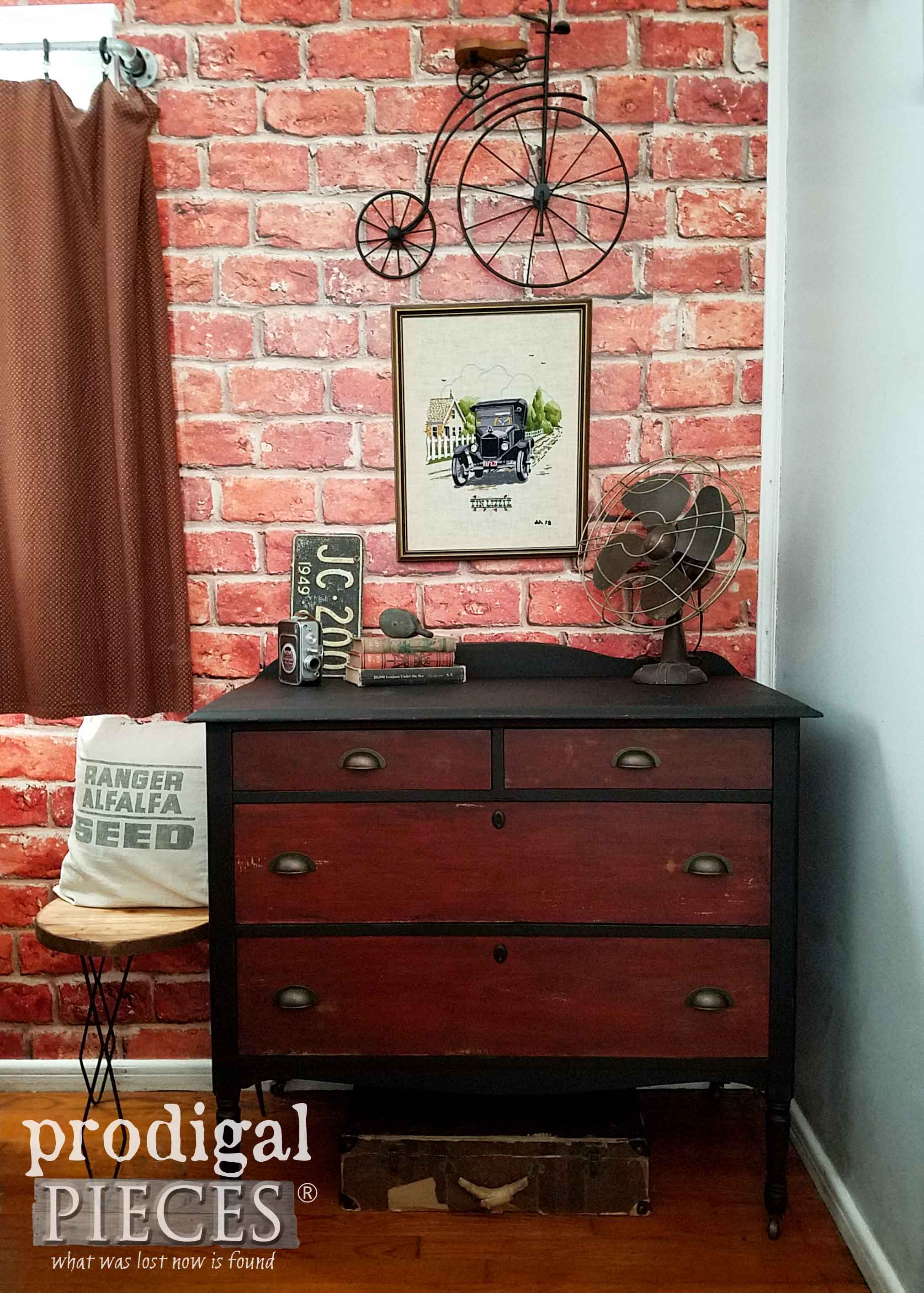 Industrial Chest of Drawers in Black with Wood Contrasts by Larissa of Prodigal Pieces | prodigalpieces.com