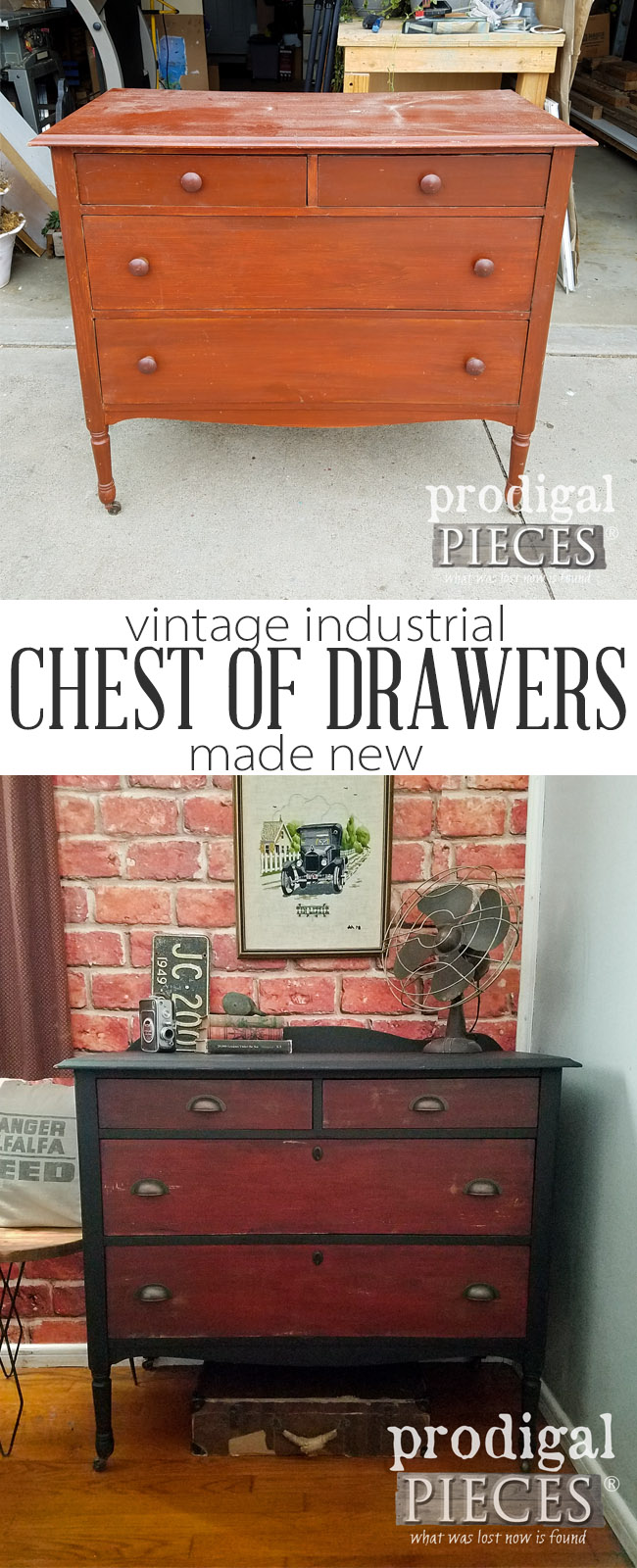 Sweet! This vintage pieces gets updated to a rustic industrial chest of drawers with paint and stain. See the makeover in action at Prodigal Pieces | prodigalpieces.com
