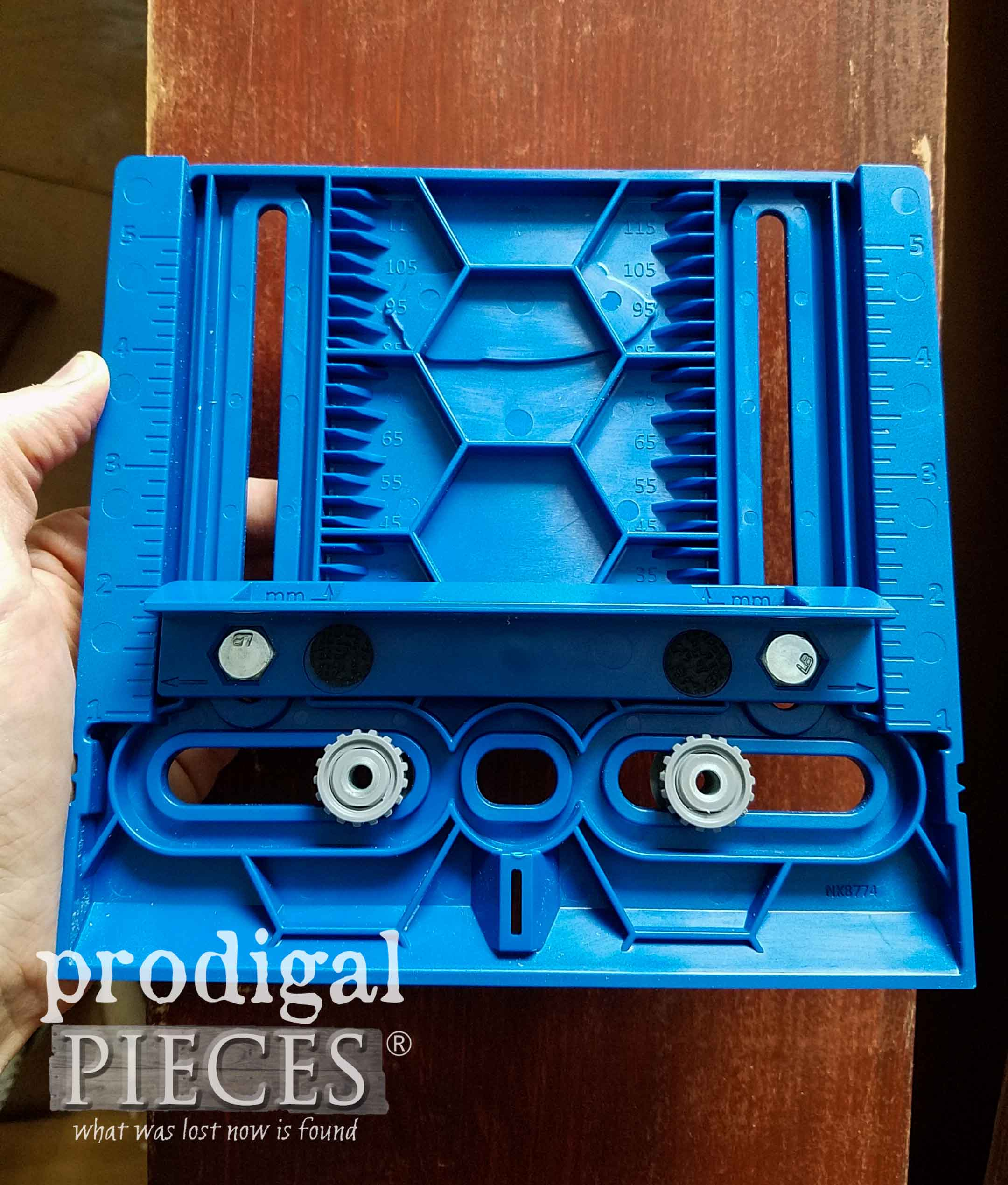 Kreg Drawer Pull Jig as shown by Prodigal Pieces | prodigalpieces.com