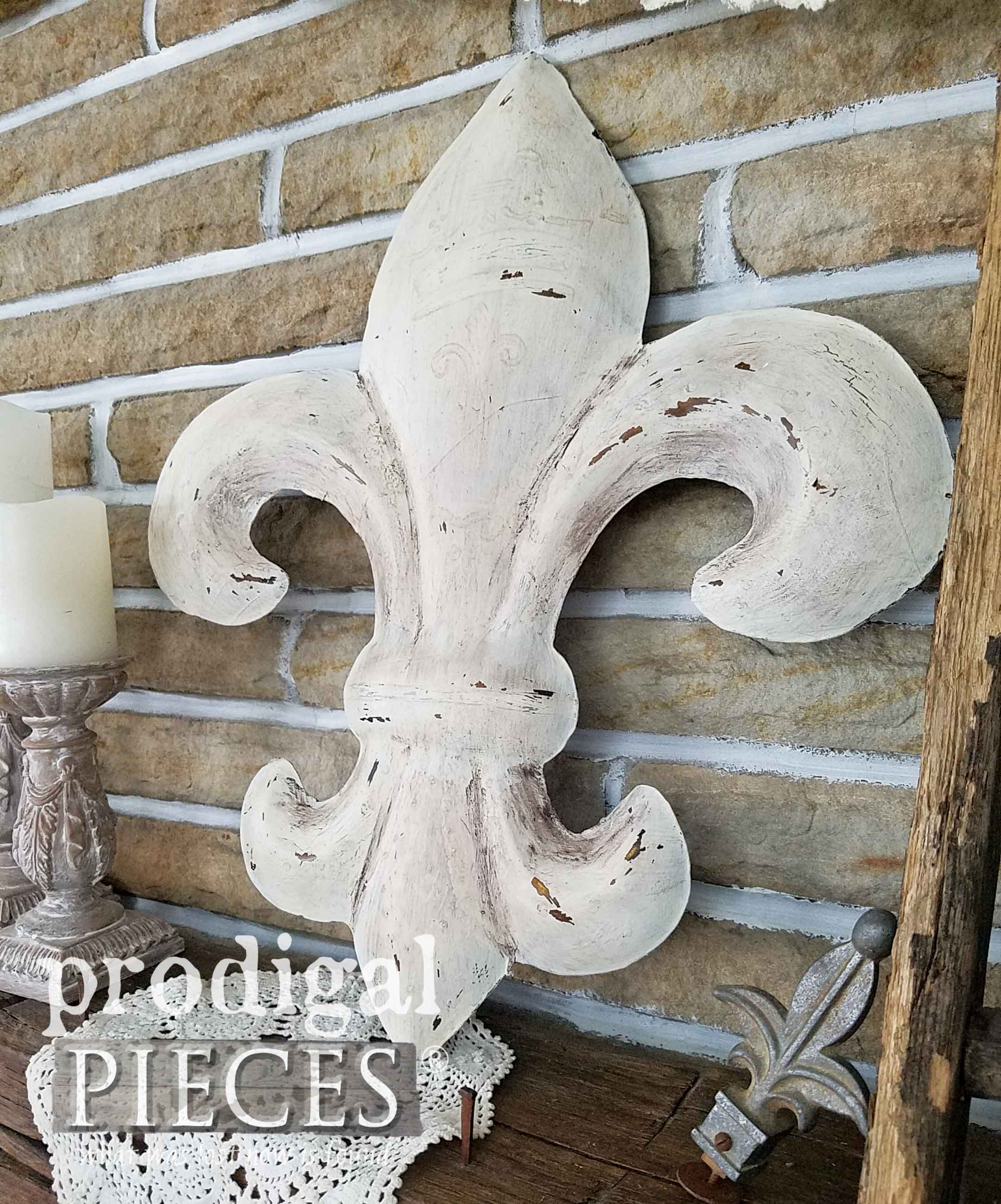 Large White FLeur de Lis with Rustic Chic Style by Larissa of Prodigal Pieces | prodigalpieces.com