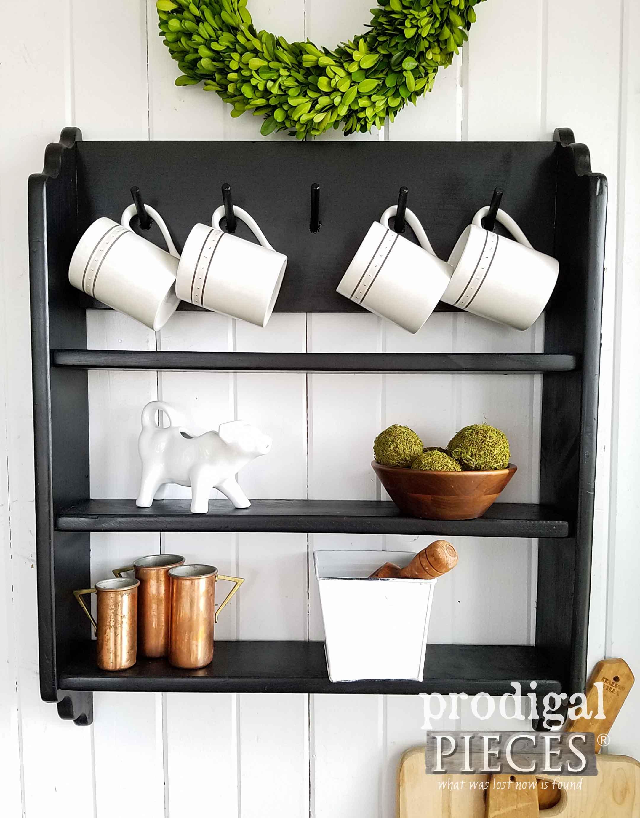 Modern Farmhouse Shelf in Black with Mug Rack by Larissa of Prodigal Pieces | prodigalpieces.com