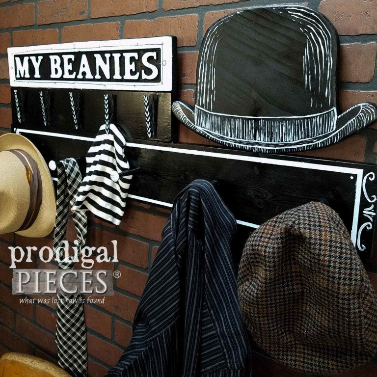 Vintage Style Typography Coat Rack Designed by Larissa of Prodigal Pieces | prodigalpieces.com