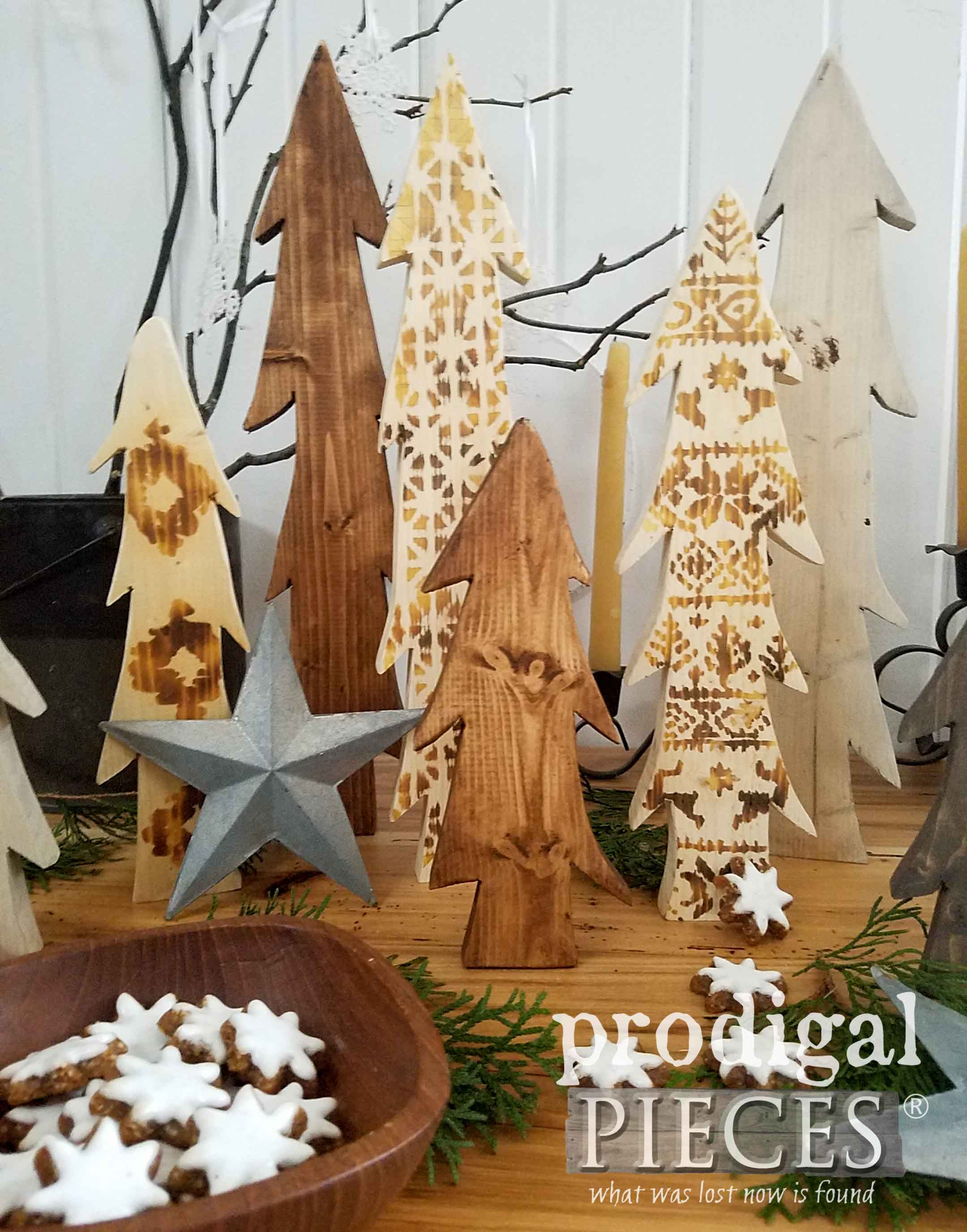 Nordic Wood Burned Trees with Step-by-Step Tutorial by Larissa of Prodigal Pieces | prodigalpieces.com