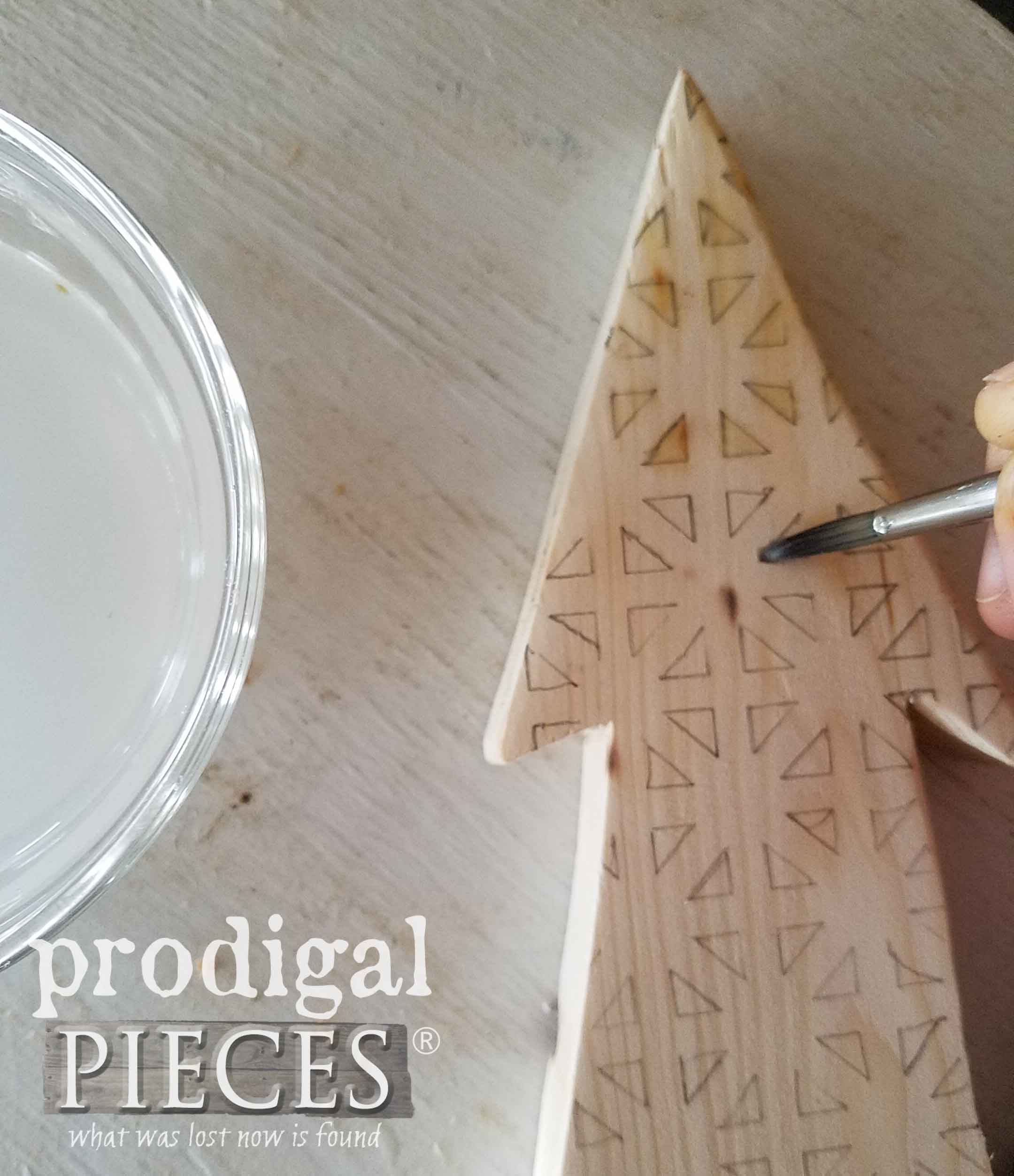 Painting on Ammonium Chloride with Brush for Wood Burning with Heat Gun | Prodigal Pieces | prodigalpieces.com
