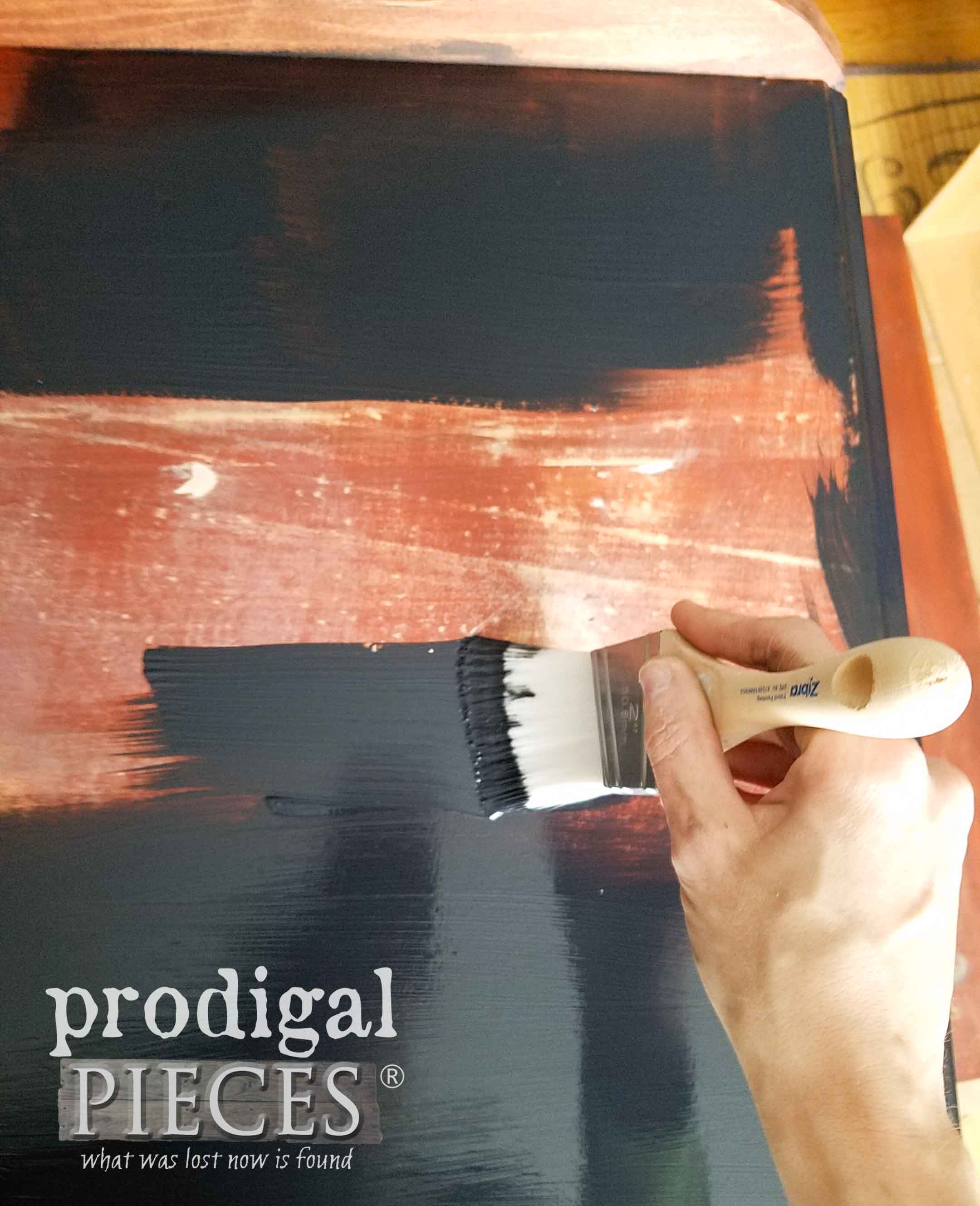 Painting Chest of Drawers Top with Zibra Paint Brush | prodigalpieces.com