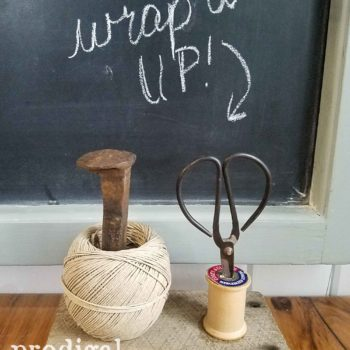 Reclaimed Farmhouse Twine Holder from Barn Wood and Railroad Spike by Larissa of Prodigal Pieces | prodigalpieces.com