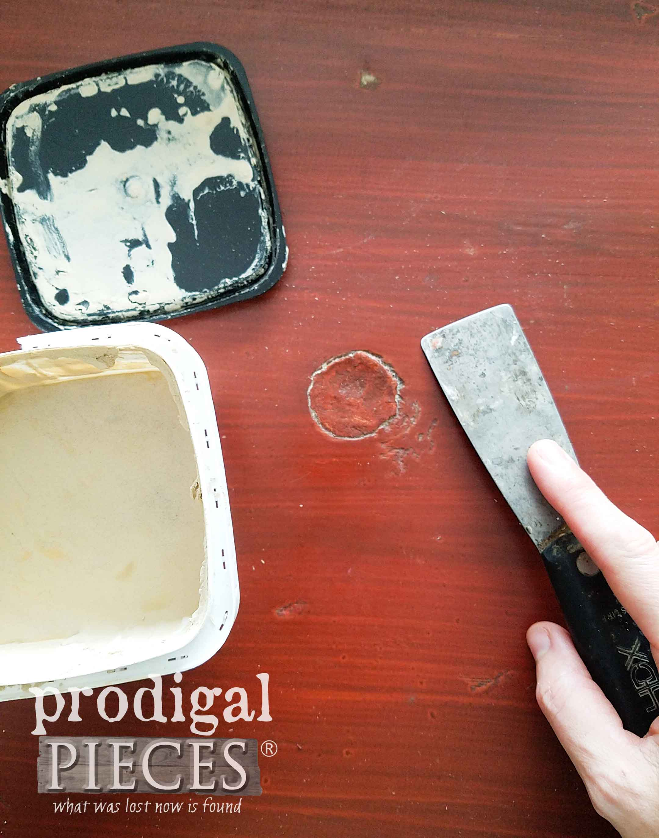 Repairing Damage to Chest of Drawers with Dap Wood Filler | prodigalpieces.com