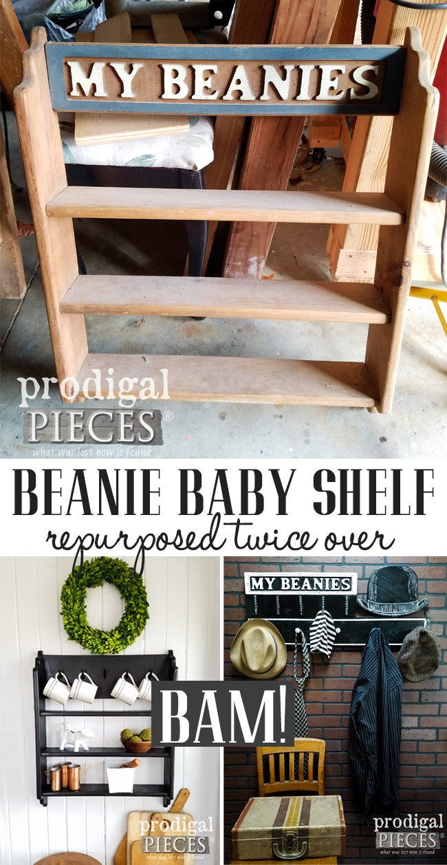 So cool! A thrifted beanie baby shelf got repurposed twice over! Check out these two builds by Larissa of Prodigal Pieces | prodigalpieces.com