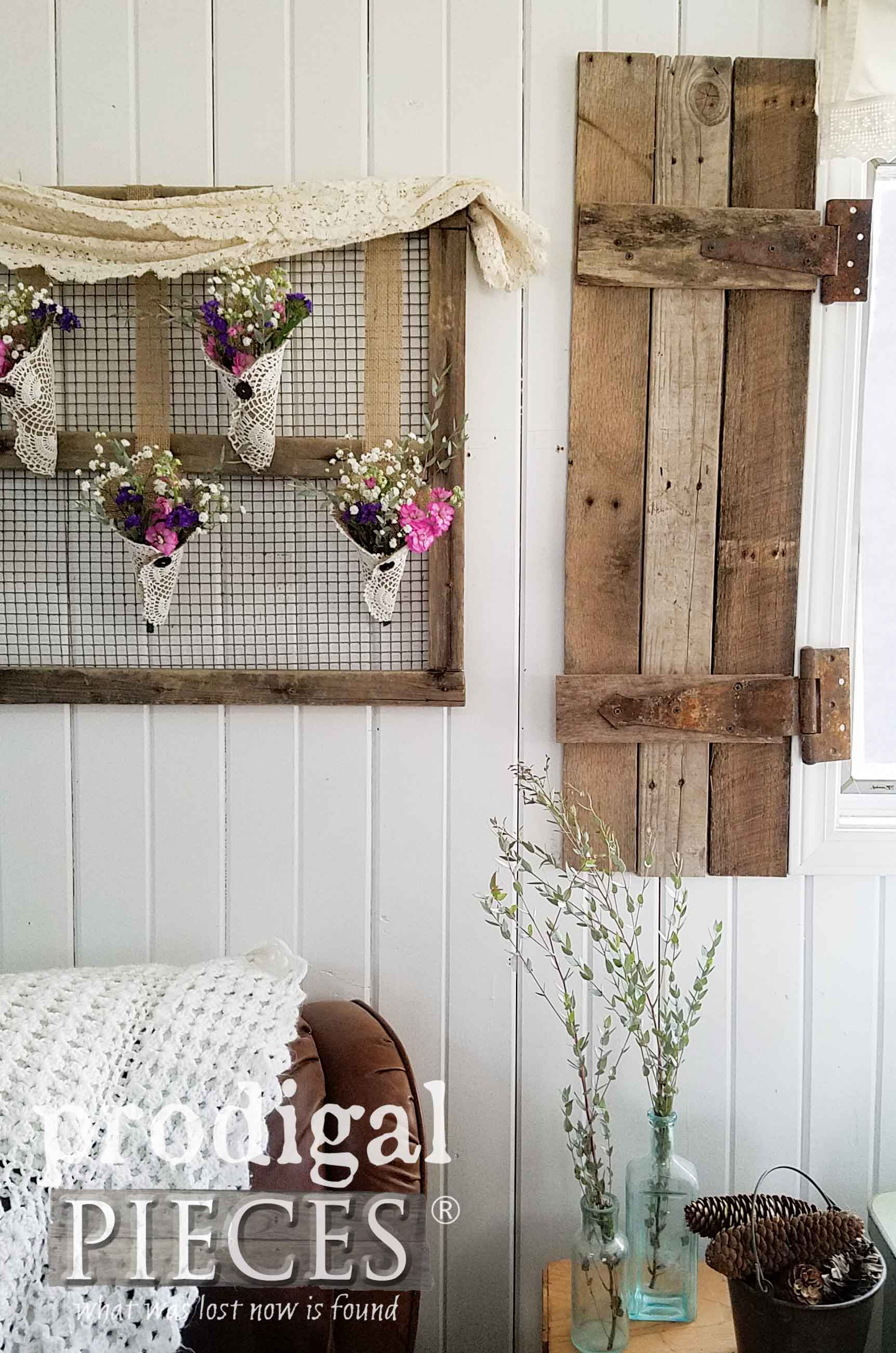 Repurposed Farmhouse Home Decor with Burlap, Doilies, and Vintage Finds by Larissa of Prodigal Pieces | prodigalpieces.com