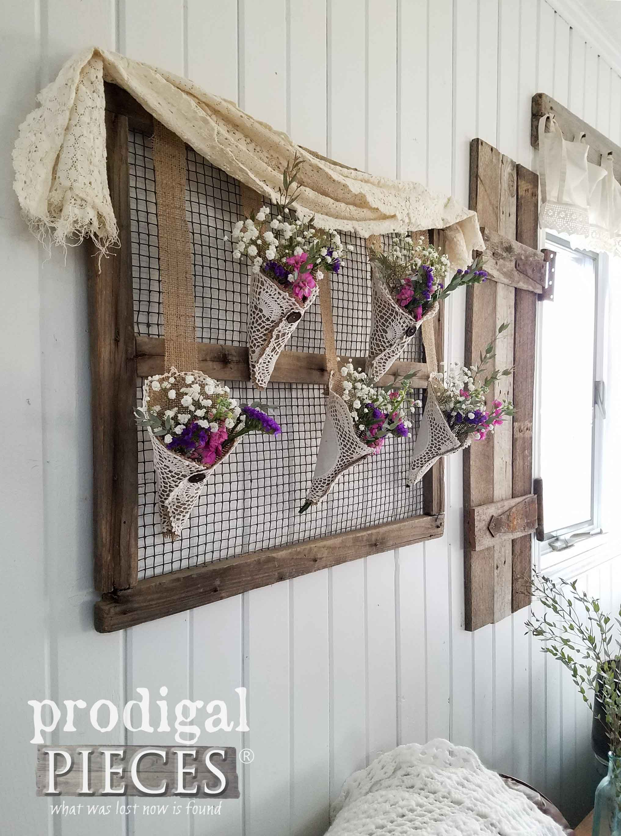 Reclaimed and Repurposed Burlap and Doily Wall Art from Flea Market Finds by Larissa of Prodigal Pieces | prodigalpieces.com