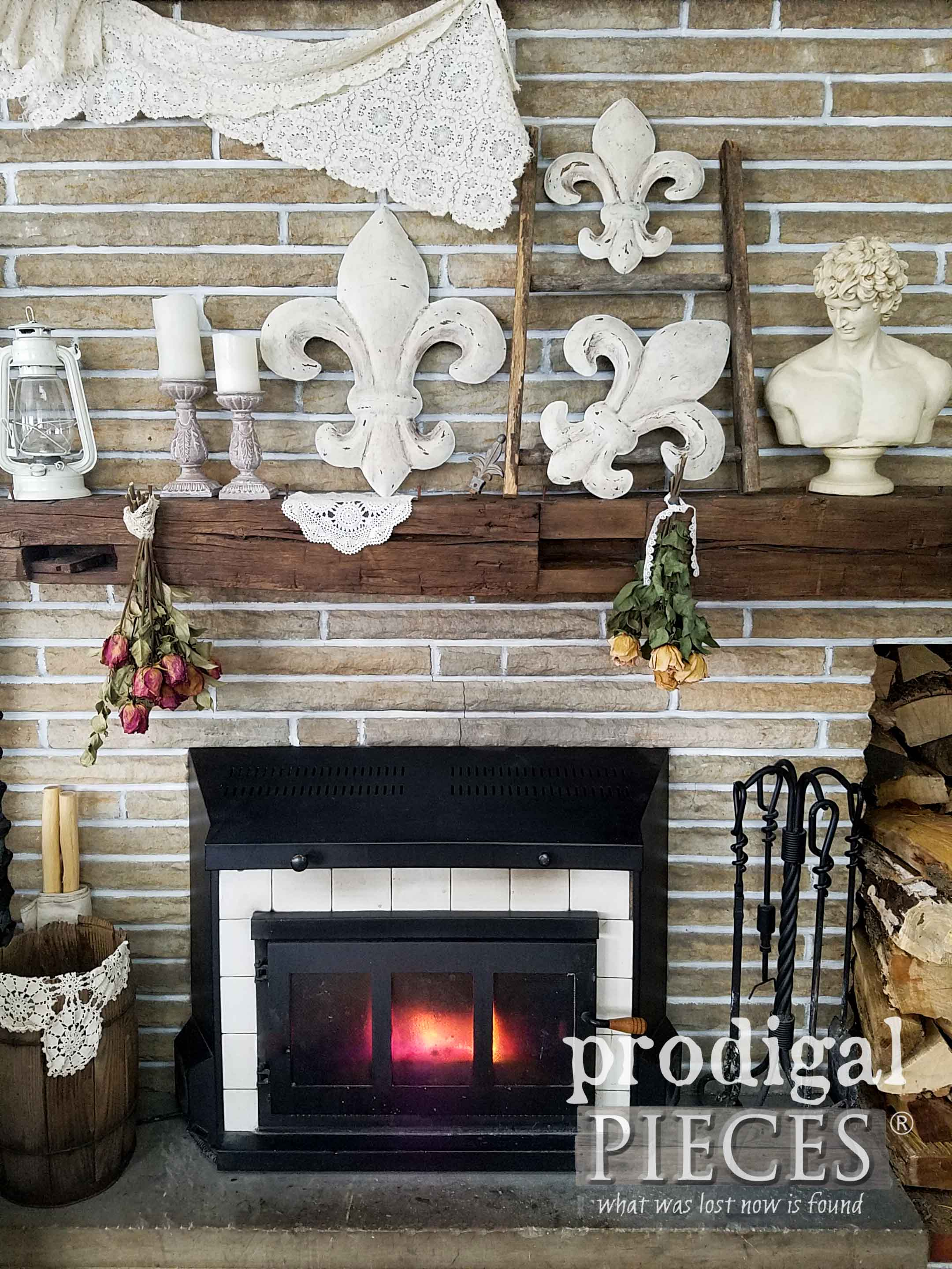 Rustic Chic Fireplace Mantel Display with DIY Fleur de Lis Wall Art by Larissa of Prodigal Pieces | prodigalpieces.com