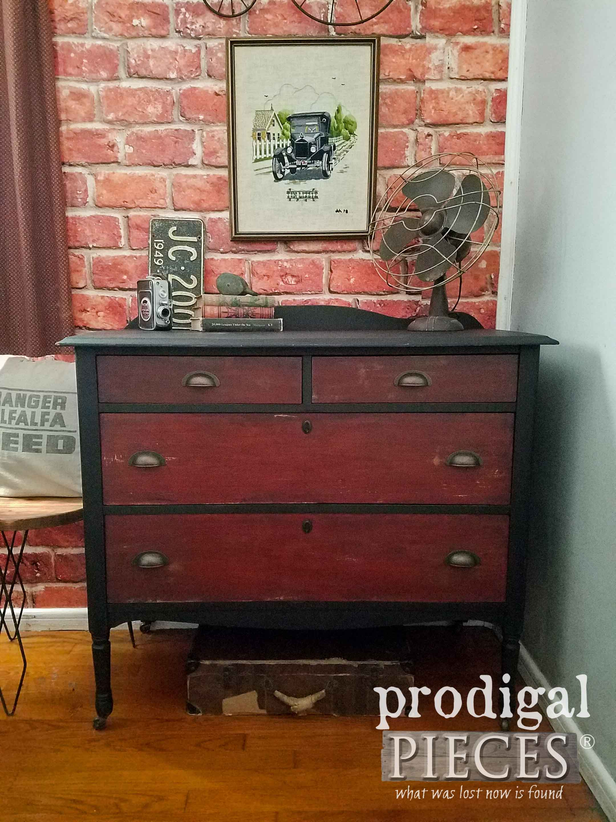 Rustic Industrial Furniture Makeover of a Vintage Chest of Drawers by Prodigal Pieces | prodigalpieces.com