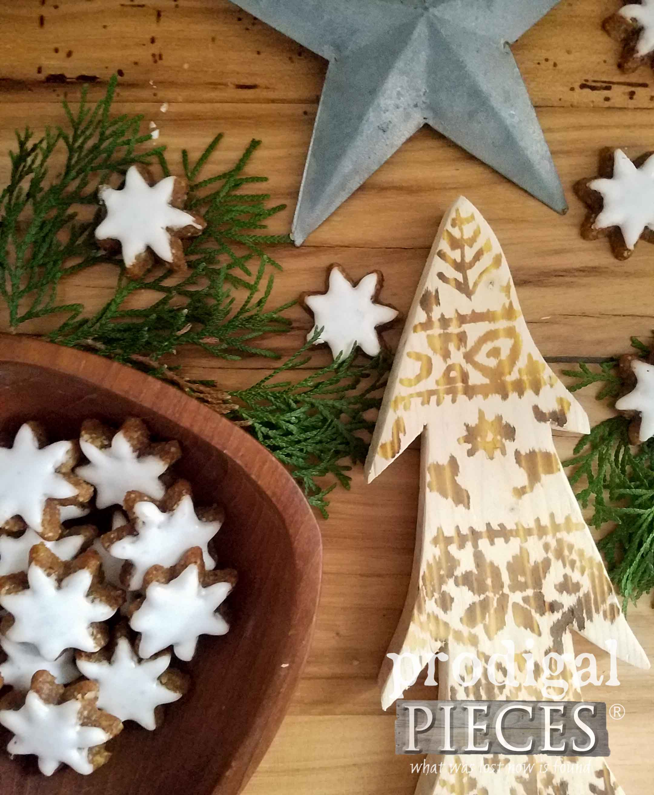 Rustic Nordic Wood Burned Tree using a Heat Gun. DIY tutorial by Larissa of Prodigal Pieces | prodigalpieces.com