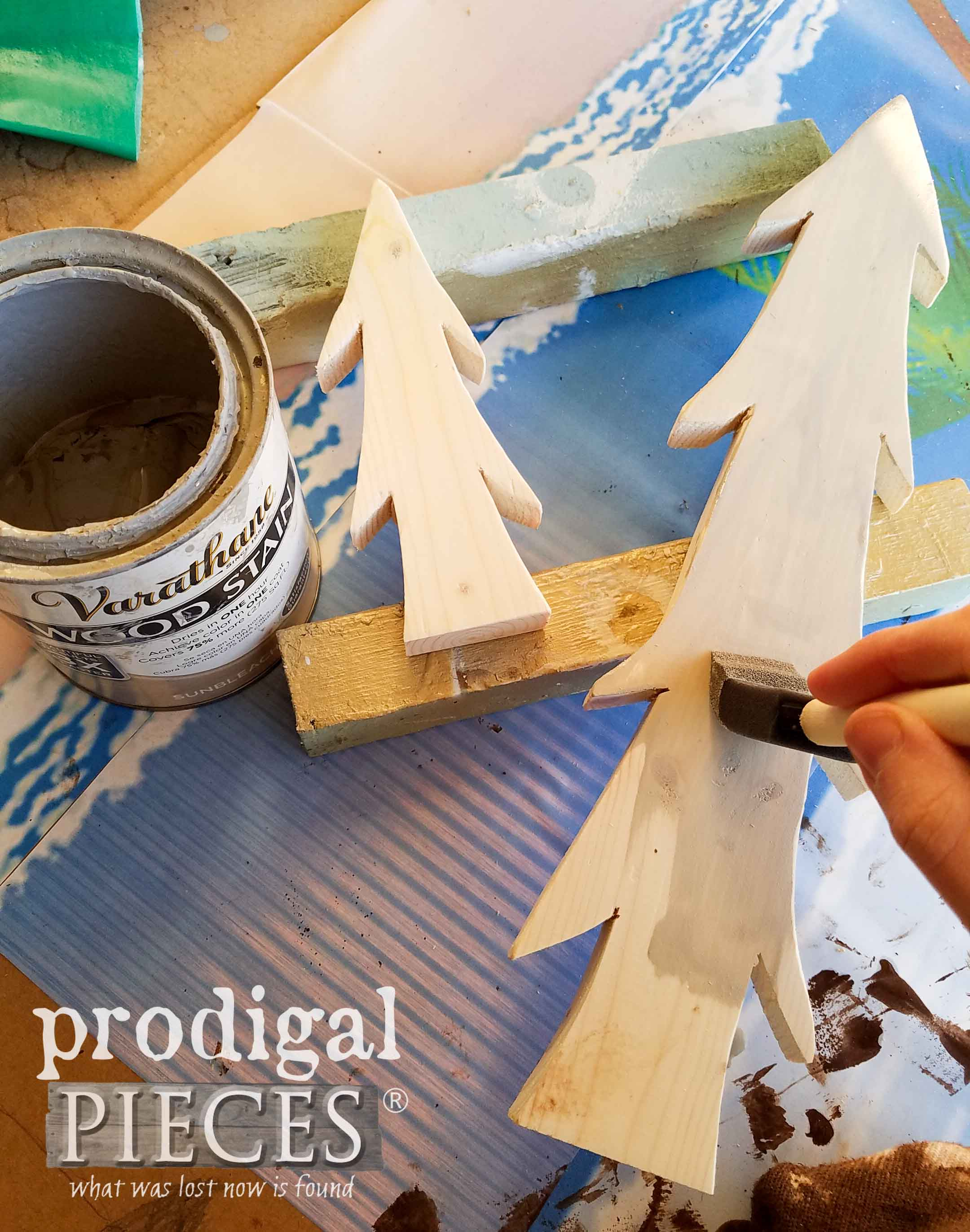 Staining Wooden Christmas Trees | prodigalpieces.com