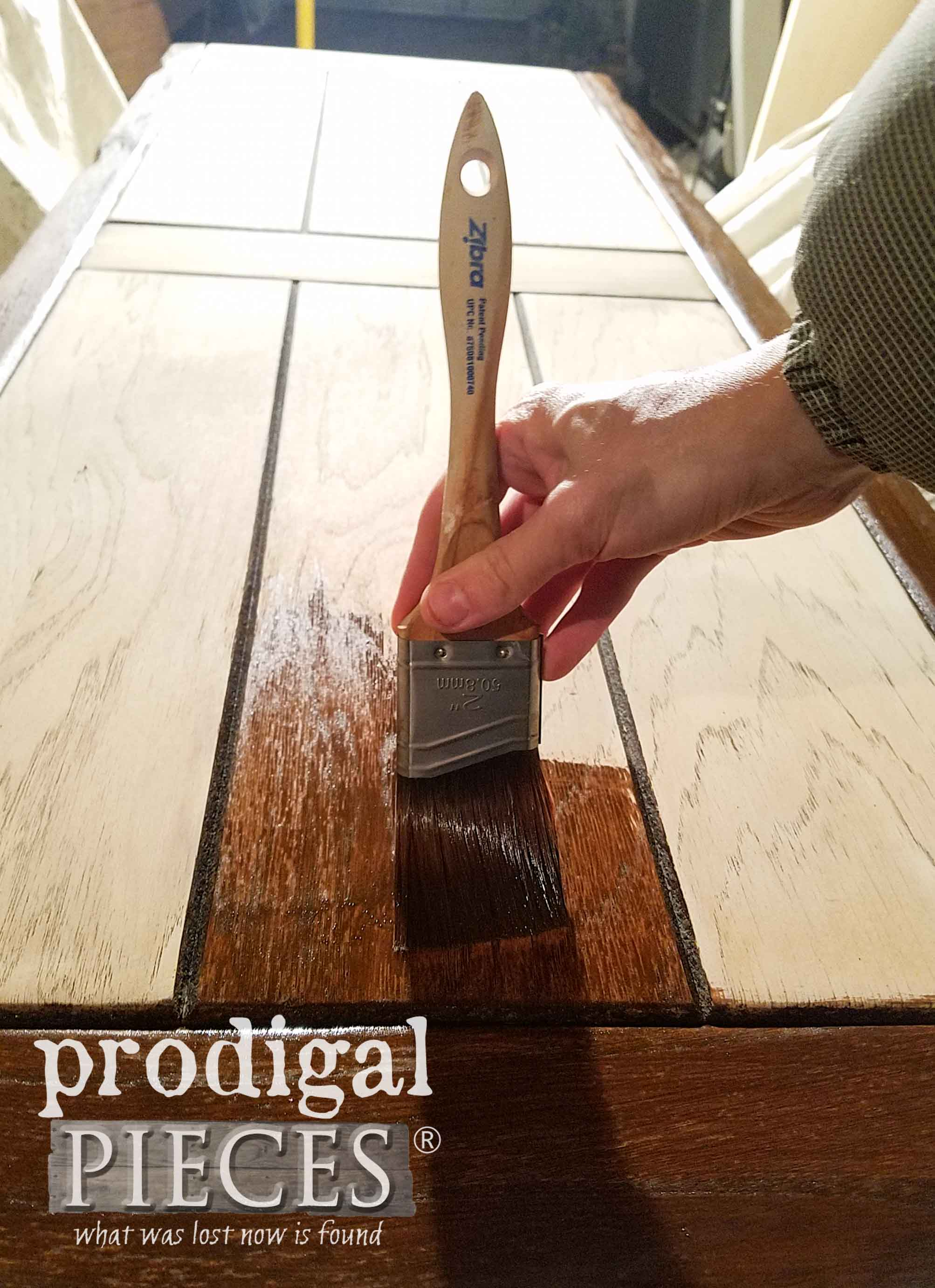 Staining Farmhouse Coffee Table Top with Zibra Brushes by Prodigal Pieces | prodigalpieces.com