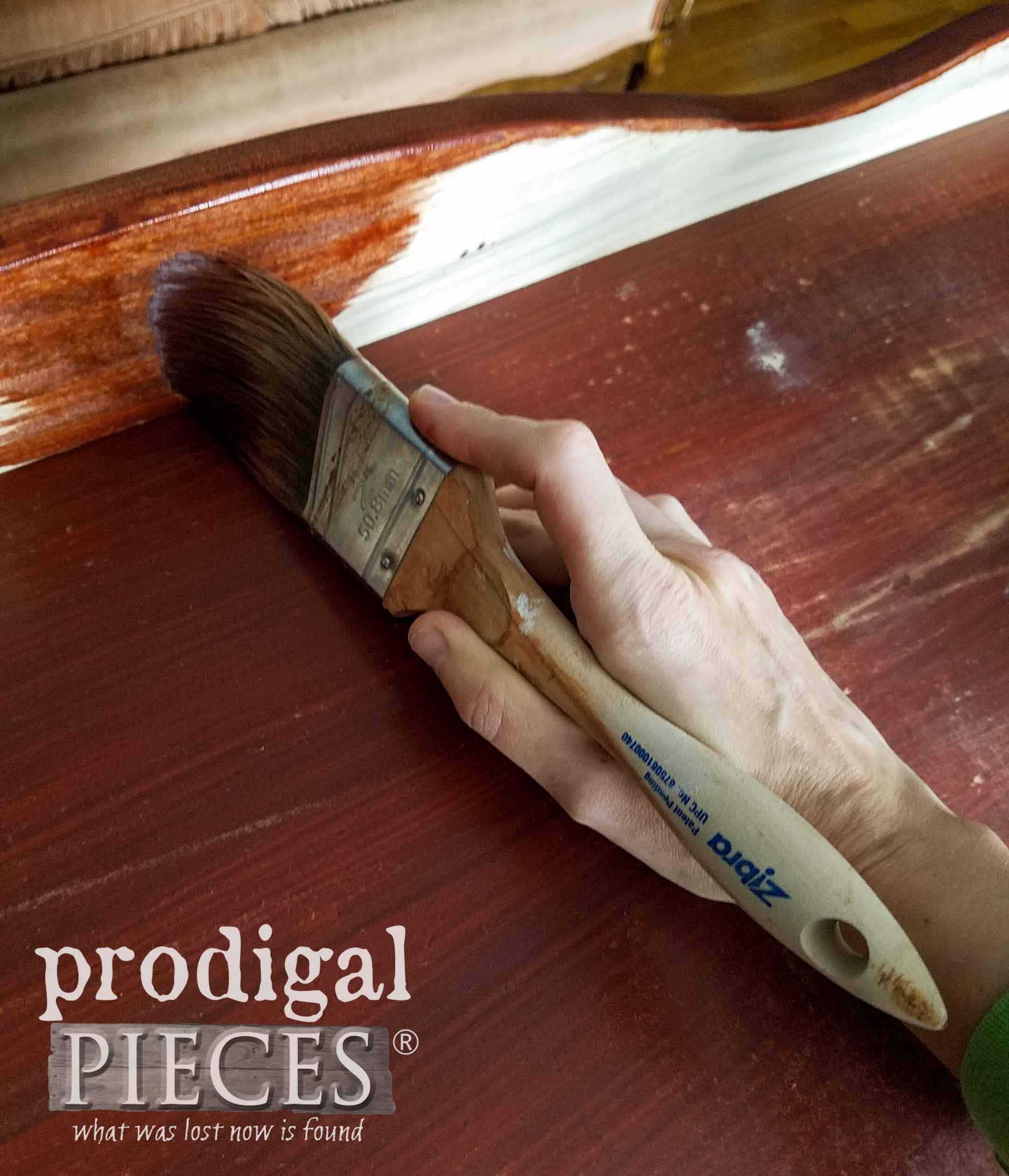 Applying Cherry Stain to Chest with Zibra Paint Brush | prodigalpieces.com