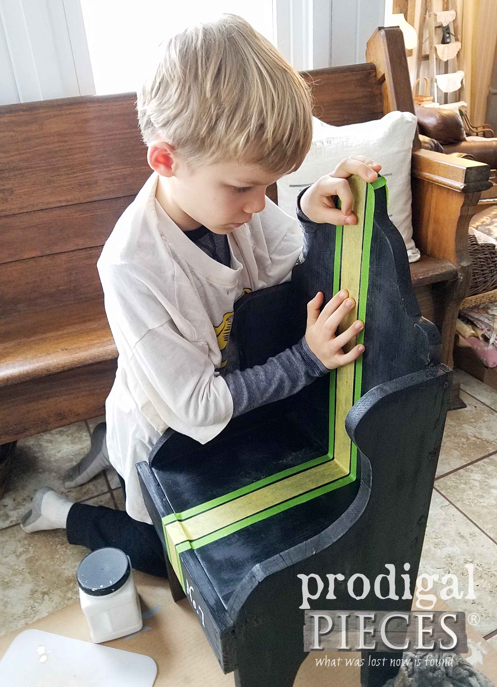 Taping off Grain Sack Chair with Frog Tape | prodigalpieces.com