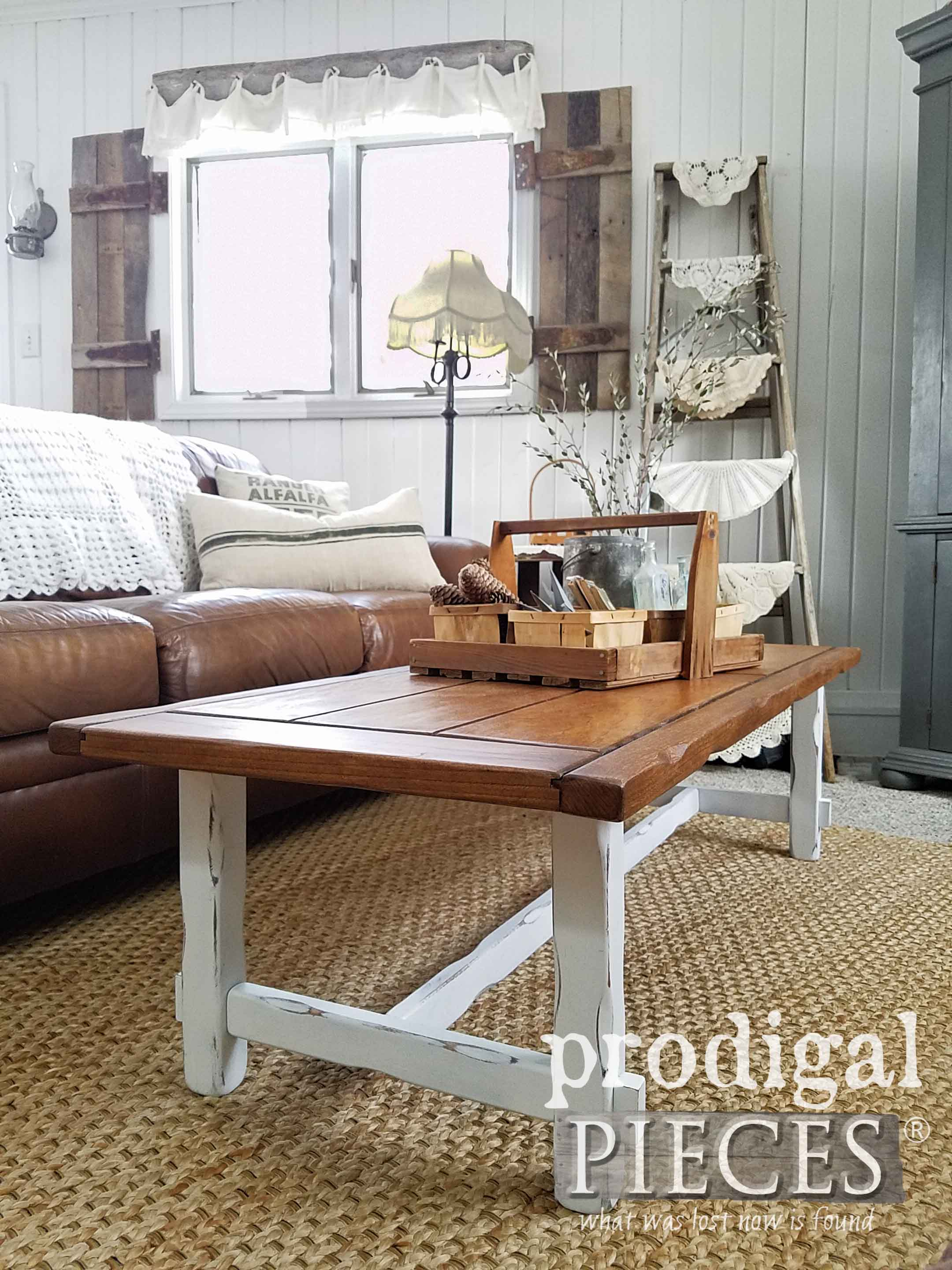 Thrifted Farmhouse Coffee Table - get the DIY details at Prodigal Pieces | prodigalpieces.com