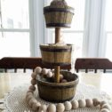 Rustic Farmhouse Tiered Stand. This and more farmhouse decor available at Prodigal Pieces | prodigalpieces.com