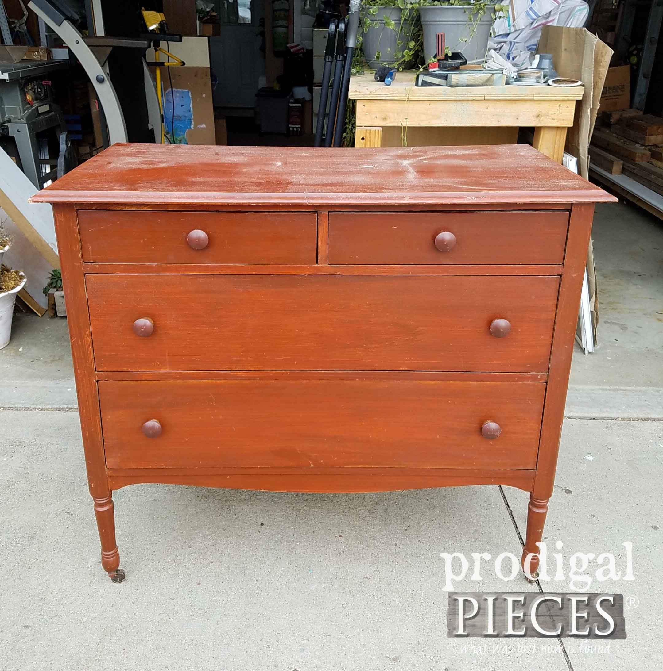 Vintage Chest Dresser Before Makeover by Prodigal Pieces | prodigalpieces.com